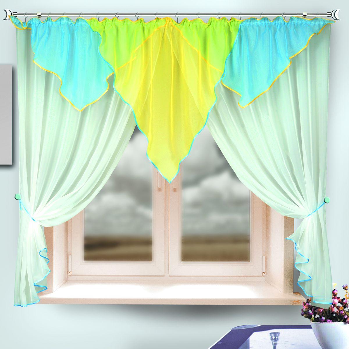 Комплект штор для кухни Zlata Korunka, на ленте, цвет: белый, голубой, желтый, высота 170 см. 333315333315Комплект штор для кухни Zlata Korunka, выполненный из полиэстера, великолепно украсит любое окно. Комплект состоит из ламбрекена, двух штор и двух подхватов. Оригинальный крой и яркая цветовая гамма привлекут к себе внимание и органично впишутся в интерьер помещения. Этот комплект будет долгое время радовать вас и вашу семью! Комплект крепится на карниз при помощи ленты, которая поможет красиво и равномерно задрапировать верх. В комплект входит: Ламбрекен: 1 шт. Размер (Ш х В): 290 х 100 см. Штора: 2 шт. Размер (Ш х В): 140 х 170 см. Подхват: 2 шт.