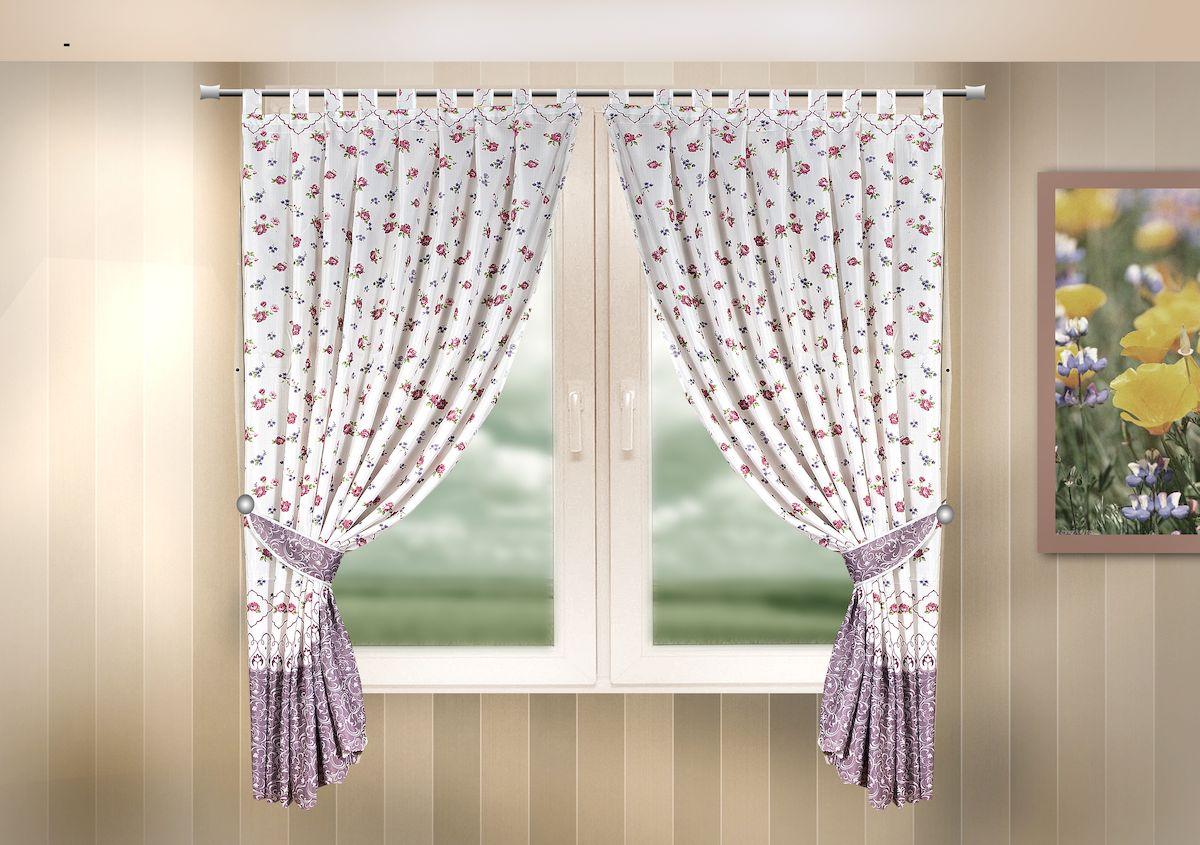 Комплект штор для кухни Zlata Korunka, на петлях, цвет: сиреневый, высота 170 см. 333317333317Комплект штор для кухни Zlata Korunka, выполненный из полиэстера, великолепно украсит любое окно. Комплект состоит из 2 штор и 2 подхватов. Цветочный рисунок и приятная цветовая гамма привлекут к себе внимание и органично впишутся в интерьер помещения. Этот комплект будет долгое время радовать вас и вашу семью! Комплект крепится на карниз при помощи петель. В комплект входит: Штора: 2 шт. Размер (Ш х В): 140 х 170 см. Подхват: 2 шт.