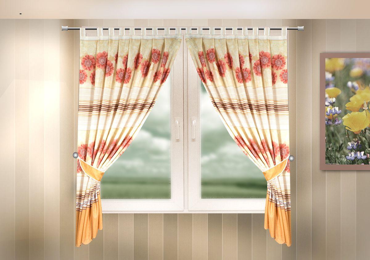 Комплект штор для кухни Zlata Korunka, на петлях, цвет: оранжевый, высота 170 см. 333319333319Комплект штор для кухни Zlata Korunka, выполненный из полиэстера, великолепно украсит любое окно. Комплект состоит из 2 штор и 2 подхватов. Цветочный рисунок и приятная цветовая гамма привлекут к себе внимание и органично впишутся в интерьер помещения. Этот комплект будет долгое время радовать вас и вашу семью! Комплект крепится на карниз при помощи петель. В комплект входит: Штора: 2 шт. Размер (Ш х В): 140 х 170 см. Подхват: 2 шт.