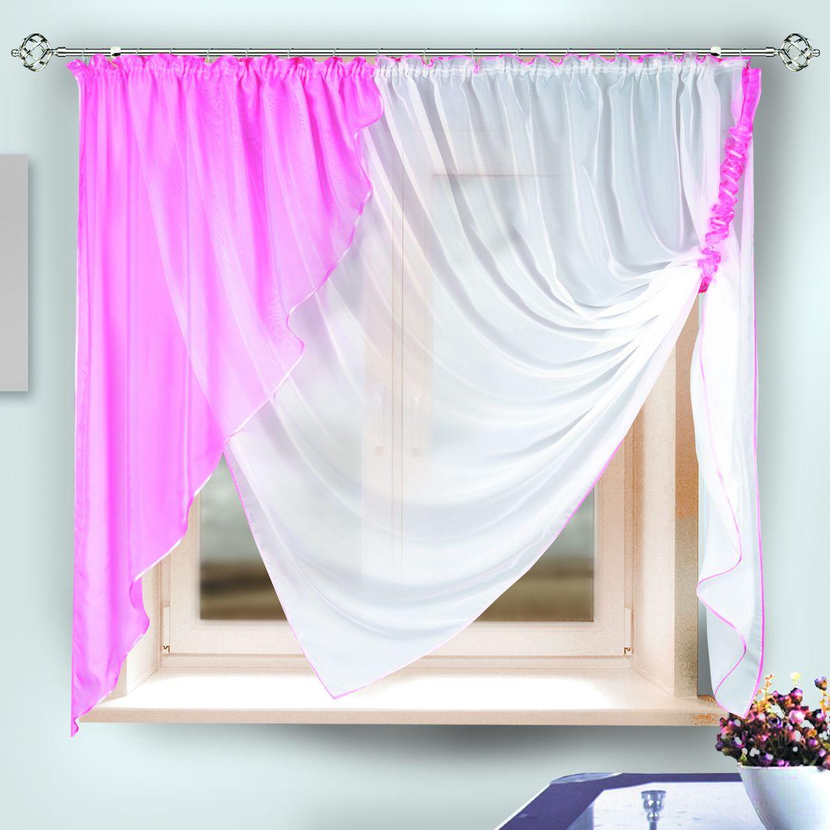 Комплект штор для кухни Zlata Korunka, на ленте, цвет: розовый, высота 170 см. 3333233332Комплект штор для кухни Zlata Korunka, выполненный из полиэстера, великолепно украсит любое окно. Комплект состоит из тюля, ламбрекена и подхвата. Оригинальный крой и приятная цветовая гамма привлекут к себе внимание и органично впишутся в интерьер помещения. Этот комплект будет долгое время радовать вас и вашу семью! Комплект крепится на карниз при помощи шторной ленты. В комплект входит: Тюль: 1 шт. Размер (Ш х В): 290 х 170 см. Ламбрекен: 1 шт. Размер (Ш х В): 145 х 165 см. Подхват: 1 шт.