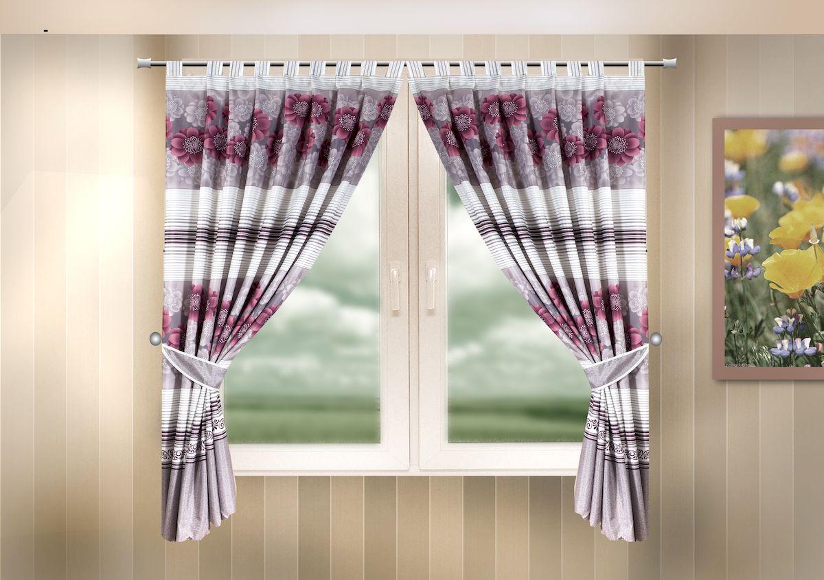 Комплект штор для кухни Zlata Korunka, на петлях, цвет: сиреневый, высота 170 см. 333320333320Комплект штор для кухни Zlata Korunka, выполненный из полиэстера, великолепно украсит любое окно. Комплект состоит из 2 штор и 2 подхватов. Цветочный рисунок и приятная цветовая гамма привлекут к себе внимание и органично впишутся в интерьер помещения. Этот комплект будет долгое время радовать вас и вашу семью! Комплект крепится на карниз при помощи петель. В комплект входит: Штора: 2 шт. Размер (Ш х В): 140 х 170 см. Подхват: 2 шт.