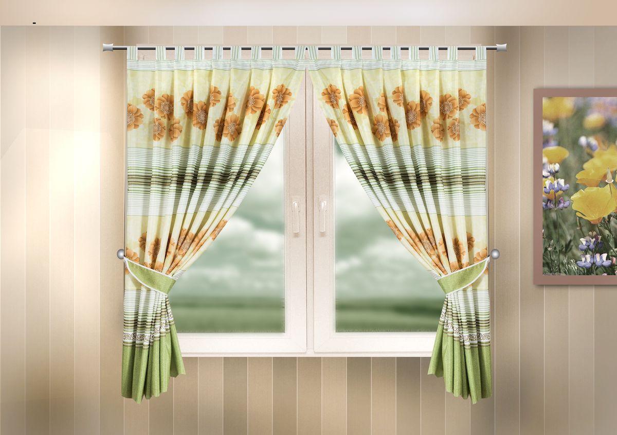 Комплект штор для кухни Zlata Korunka, на петлях, цвет: зеленый, высота 170 см. 333321333321Комплект штор для кухни Zlata Korunka, выполненный из полиэстера, великолепно украсит любое окно. Комплект состоит из 2 штор и 2 подхватов. Цветочный рисунок и приятная цветовая гамма привлекут к себе внимание и органично впишутся в интерьер помещения. Этот комплект будет долгое время радовать вас и вашу семью! Комплект крепится на карниз при помощи петель. В комплект входит: Штора: 2 шт. Размер (Ш х В): 140 х 170 см. Подхват: 2 шт.
