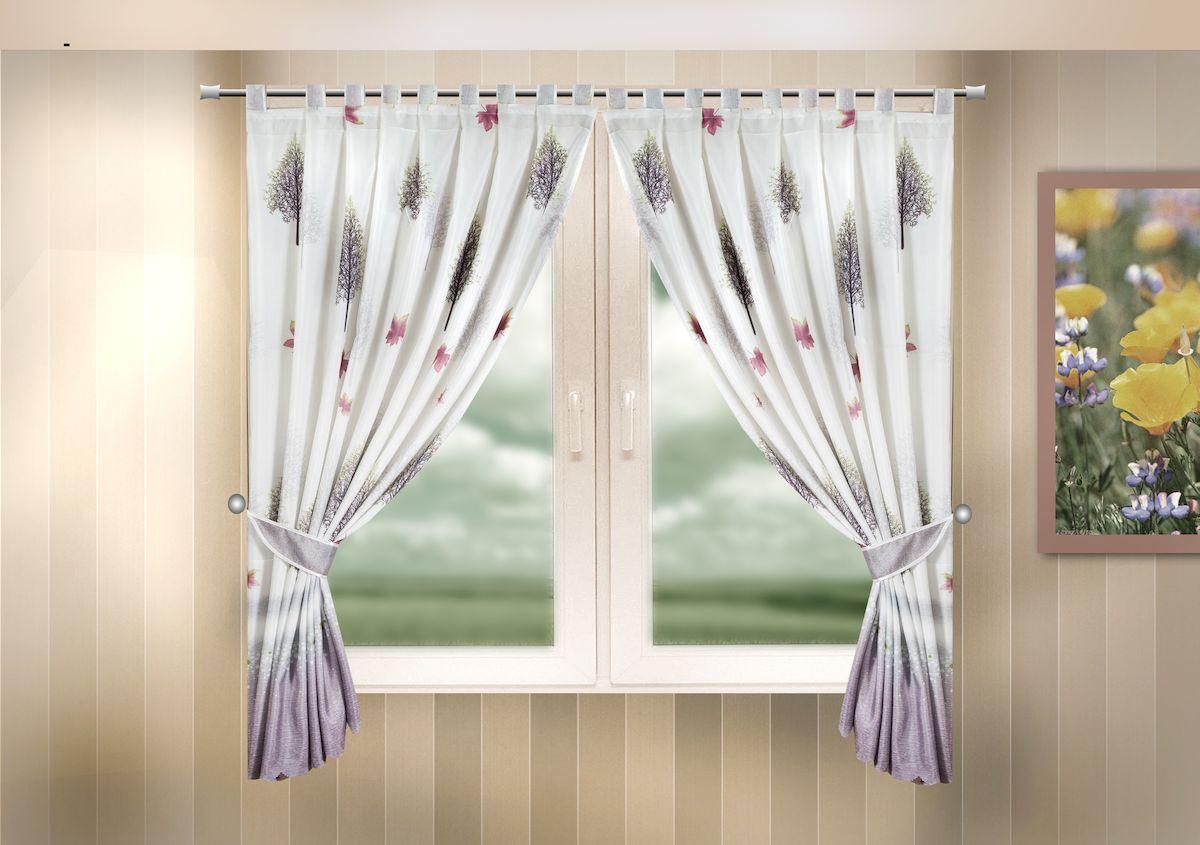 Комплект штор для кухни Zlata Korunka, на петлях, цвет: сиреневый, высота 170 см. 333323333323Комплект штор для кухни Zlata Korunka, выполненный из полиэстера, великолепно украсит любое окно. Комплект состоит из 2 штор и 2 подхватов. Оригинальный рисунок и приятная цветовая гамма привлекут к себе внимание и органично впишутся в интерьер помещения. Этот комплект будет долгое время радовать вас и вашу семью! Комплект крепится на карниз при помощи петель. В комплект входит: Штора: 2 шт. Размер (Ш х В): 140 х 170 см. Подхват: 2 шт.
