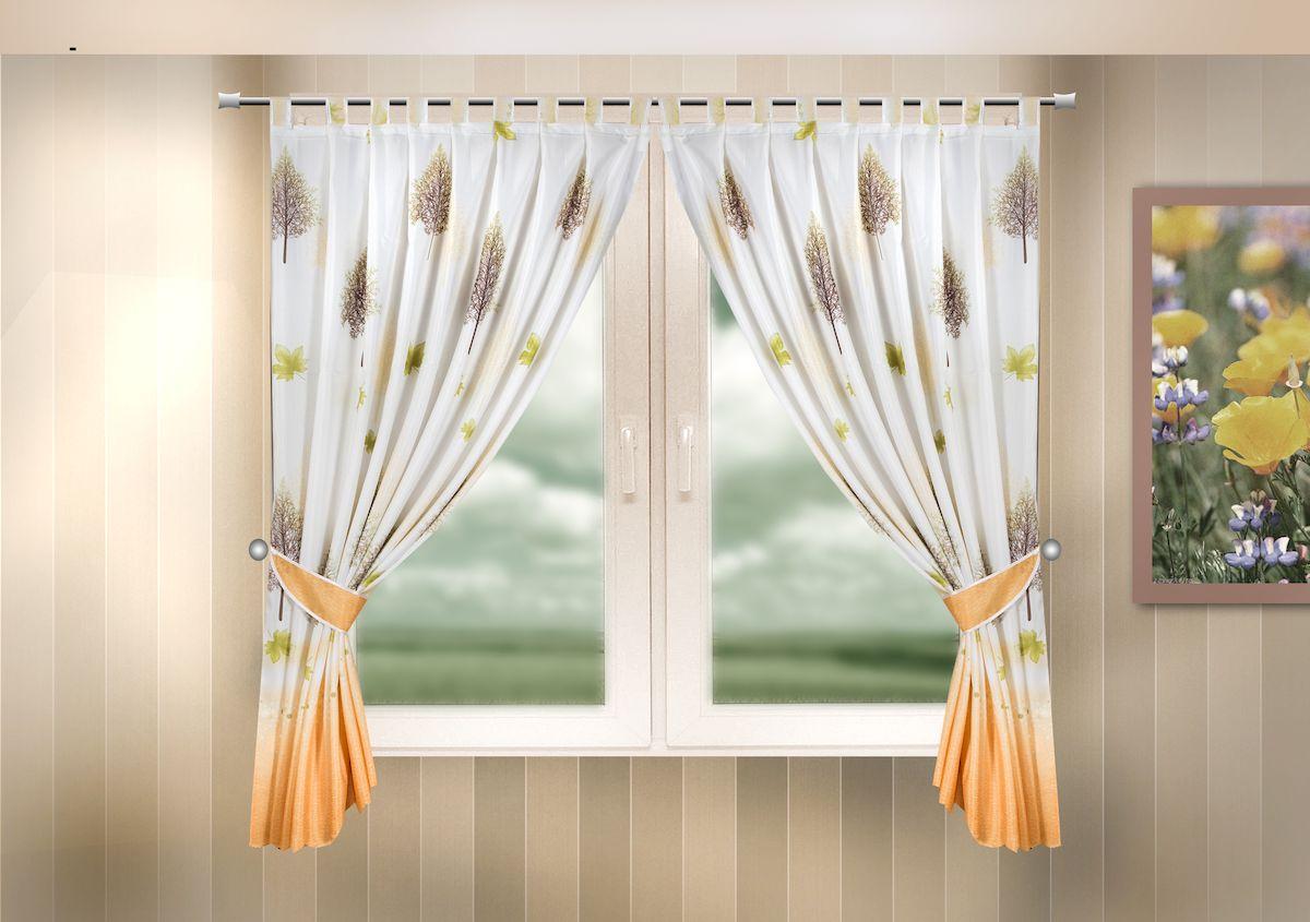Комплект штор для кухни Zlata Korunka, на петлях, цвет: оранжевый, высота 170 см. 333324333324Комплект штор для кухни Zlata Korunka, выполненный из полиэстера, великолепно украсит любое окно. Комплект состоит из 2 штор и 2 подхватов. Оригинальный рисунок и приятная цветовая гамма привлекут к себе внимание и органично впишутся в интерьер помещения. Этот комплект будет долгое время радовать вас и вашу семью! Комплект крепится на карниз при помощи петель. В комплект входит: Штора: 2 шт. Размер (Ш х В): 140 х 170 см. Подхват: 2 шт.
