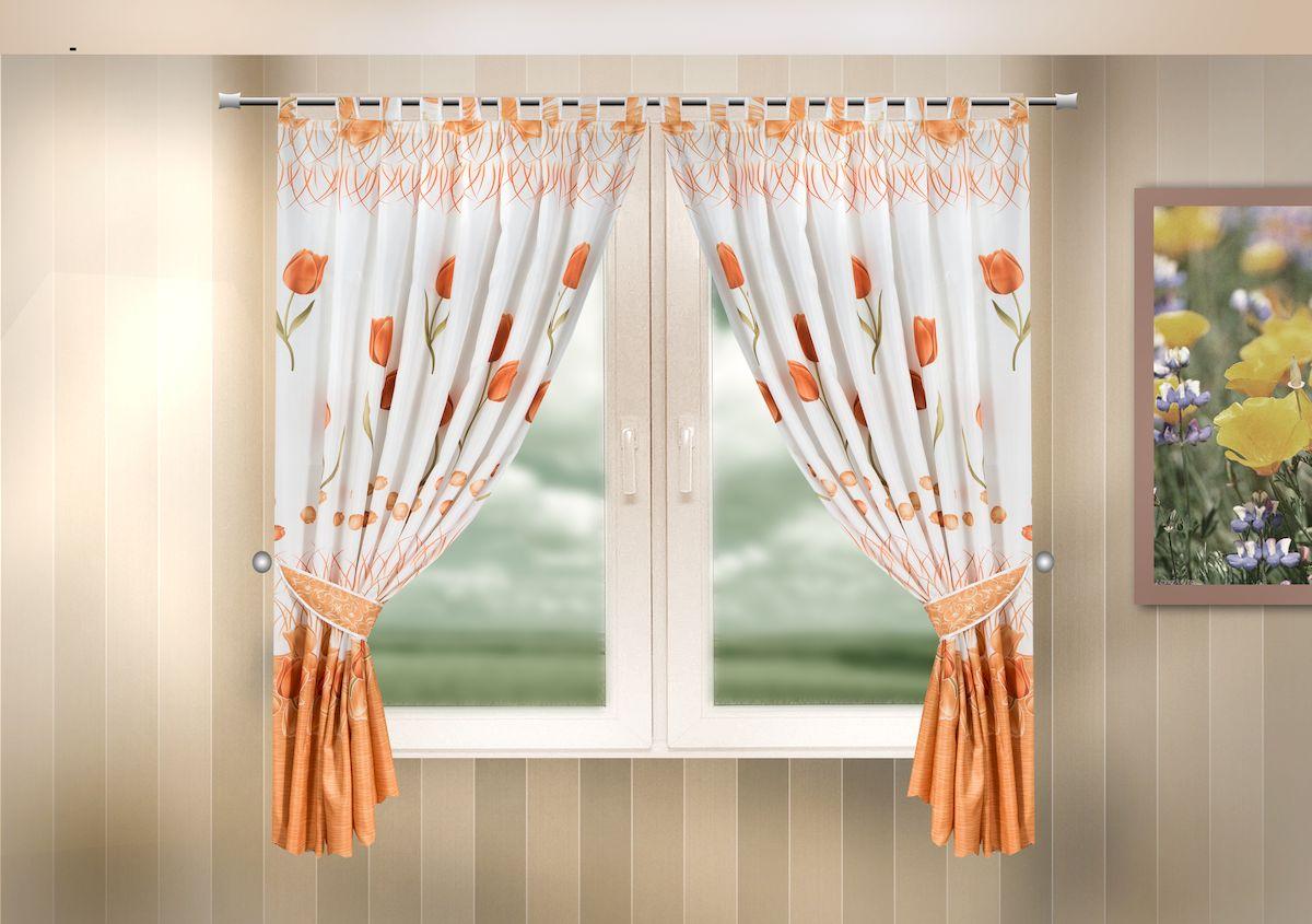 Комплект штор для кухни Zlata Korunka, на петлях, цвет: оранжевый, высота 170 см. 333325333325Комплект штор для кухни Zlata Korunka, выполненный из полиэстера, великолепно украсит любое окно. Комплект состоит из 2 штор и 2 подхватов. Оригинальный рисунок и приятная цветовая гамма привлекут к себе внимание и органично впишутся в интерьер помещения. Этот комплект будет долгое время радовать вас и вашу семью! Комплект крепится на карниз при помощи петель. В комплект входит: Штора: 2 шт. Размер (Ш х В): 140 х 170 см. Подхват: 2 шт.