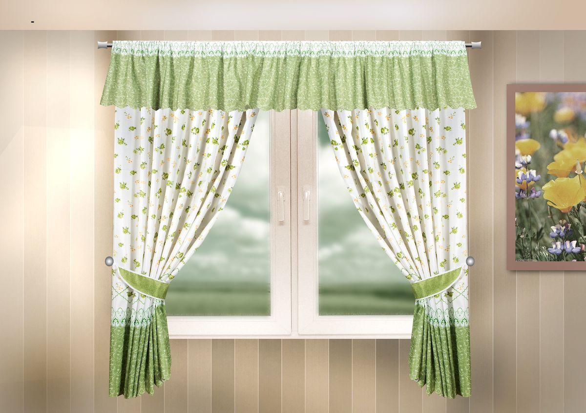 Комплект штор для кухни Zlata Korunka, на кулиске, цвет: зеленый, высота 170 см. 333326333326Комплект штор для кухни Zlata Korunka, выполненный из полиэстера, великолепно украсит любое окно. Комплект состоит из ламбрекена, 2 штор и 2 подхватов. Цветочный рисунок и приятная цветовая гамма привлекут к себе внимание и органично впишутся в интерьер помещения. Этот комплект будет долгое время радовать вас и вашу семью! Комплект крепится на карниз при помощи кулиски. В комплект входит: Ламбрекен: 1 шт. Размер (Ш х В): 290 х 35 см. Штора: 2 шт. Размер (Ш х В): 140 х 170 см. Подхват: 2 шт.