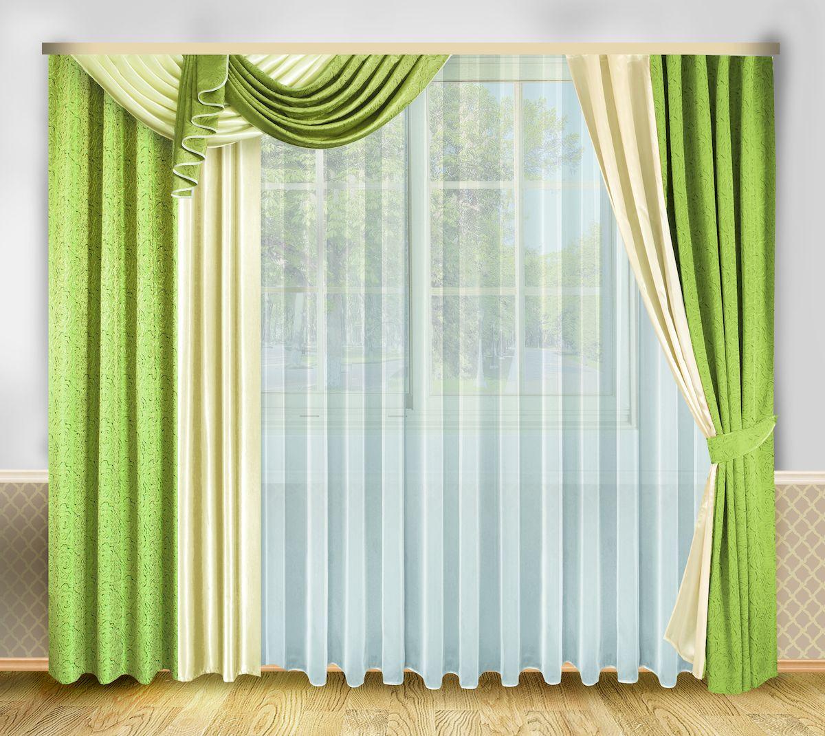 Комплект штор Zlata Korunka, на ленте, цвет: зеленый, высота 250 см. 333328333328Роскошный комплект штор Zlata Korunka, выполненный из полиэстера, великолепно украсит любое окно. Комплект состоит из тюля, ламбрекена, двух штор и двух подхватов. Изящный узор и приятная цветовая гамма привлекут к себе внимание и органично впишутся в интерьер помещения. Этот комплект будет долгое время радовать вас и вашу семью! Комплект крепится на карниз при помощи ленты, которая поможет красиво и равномерно задрапировать верх. В комплект входит: Тюль: 1 шт. Размер (Ш х В): 500 см х 250 см. Ламбрекен: 1 шт. Размер (Ш х В): 140 см х 45 см. Штора: 2 шт. Размер (Ш х В): 208 см х 250 см. Подхват: 2 шт.