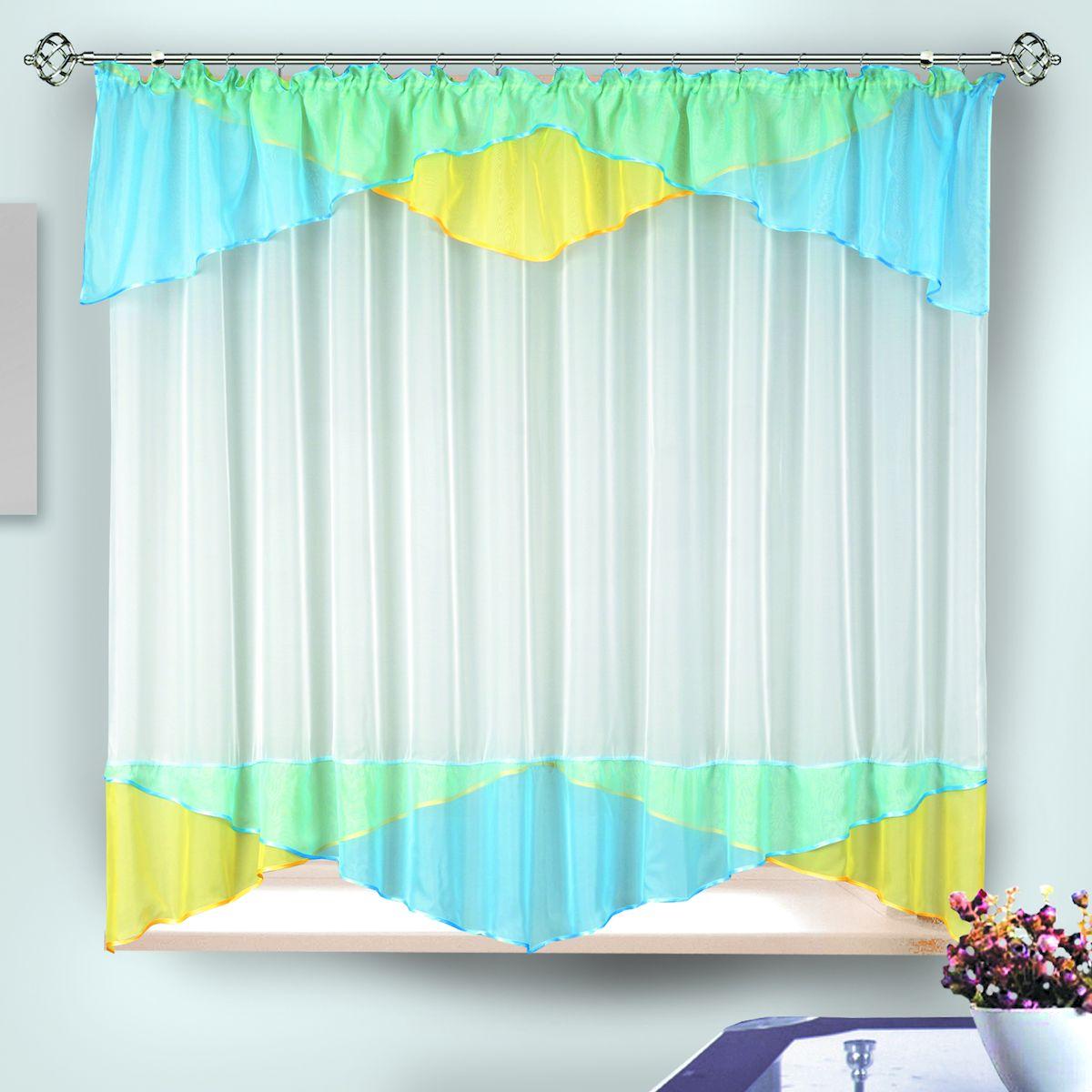 Комплект штор для кухни Zlata Korunka, на ленте, цвет: голубой, желтый, белый, высота 170 см. 3333333333Комплект штор для кухни Zlata Korunka, выполненный из полиэстера, великолепно украсит любое окно. Комплект состоит из тюля и ламбрекена. Оригинальный крой и приятная цветовая гамма привлекут к себе внимание и органично впишутся в интерьер помещения. Этот комплект будет долгое время радовать вас и вашу семью! Комплект крепится на карниз при помощи ленты, которая поможет красиво и равномерно задрапировать верх. В комплект входит: Ламбрекен: 1 шт. Размер (Ш х В): 290 х 35 см. Тюль: 1 шт. Размер (Ш х В): 280 х 170 см.