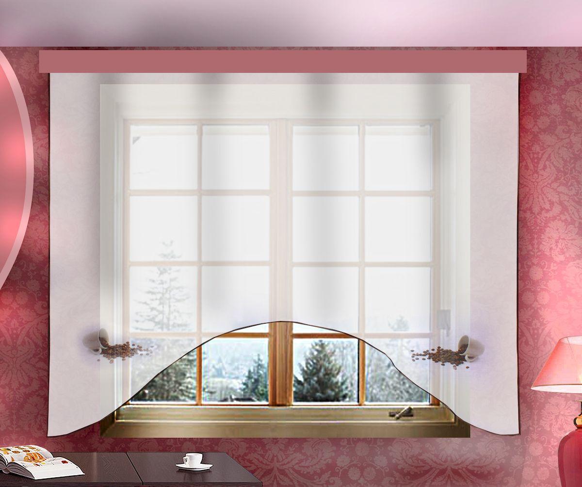 Штора для кухни Zlata Korunka, на ленте, цвет: белый, высота 160 см. 333333333333Штора Zlata Korunka, изготовленная из полиэстера, станет великолепным украшением любого окна. Полотно из белой вуали с оригинальным принтом привлечет к себе внимание и органично впишется в интерьер кухни. Штора крепится на карниз при помощи ленты, которая поможет красиво и равномерно задрапировать верх. Размер шторы (В х Ш): 160 x 205 см.