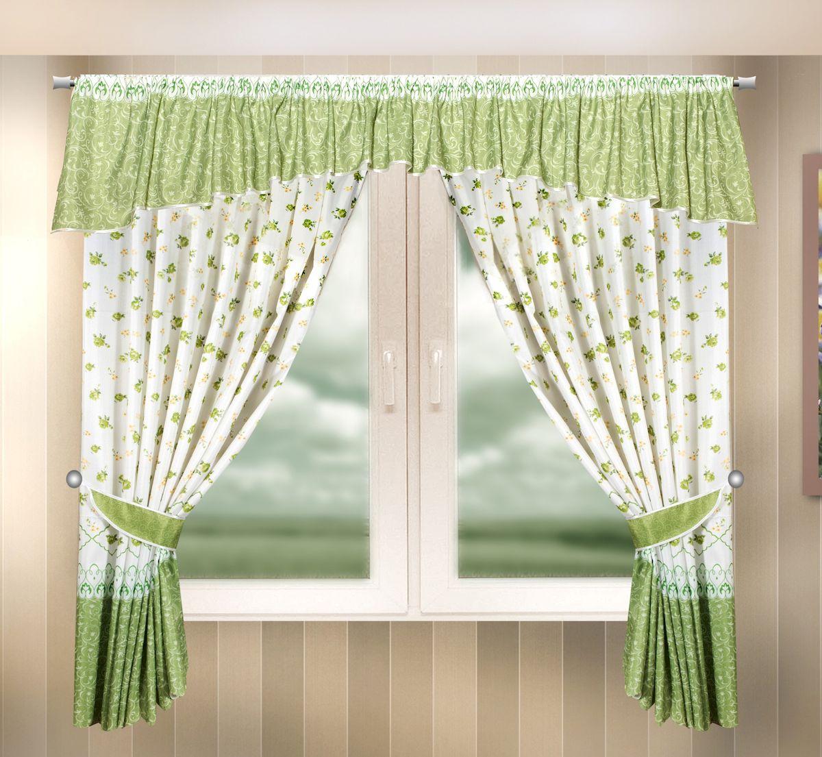 Комплект штор для кухни Zlata Korunka, на ленте, цвет: зеленый, высота 170 см. 333336333336Комплект штор для кухни Zlata Korunka, выполненный из полиэстера, великолепно украсит любое окно. Комплект состоит из ламбрекена, 2 штор и 2 подхватов. Цветочный рисунок и приятная цветовая гамма привлекут к себе внимание и органично впишутся в интерьер помещения. Этот комплект будет долгое время радовать вас и вашу семью! Комплект крепится на карниз при помощи ленты, которая поможет красиво и равномерно задрапировать верх. В комплект входит: Ламбрекен: 1 шт. Размер (Ш х В): 290 х 35 см. Штора: 2 шт. Размер (Ш х В): 140 х 170 см. Подхват: 2 шт.