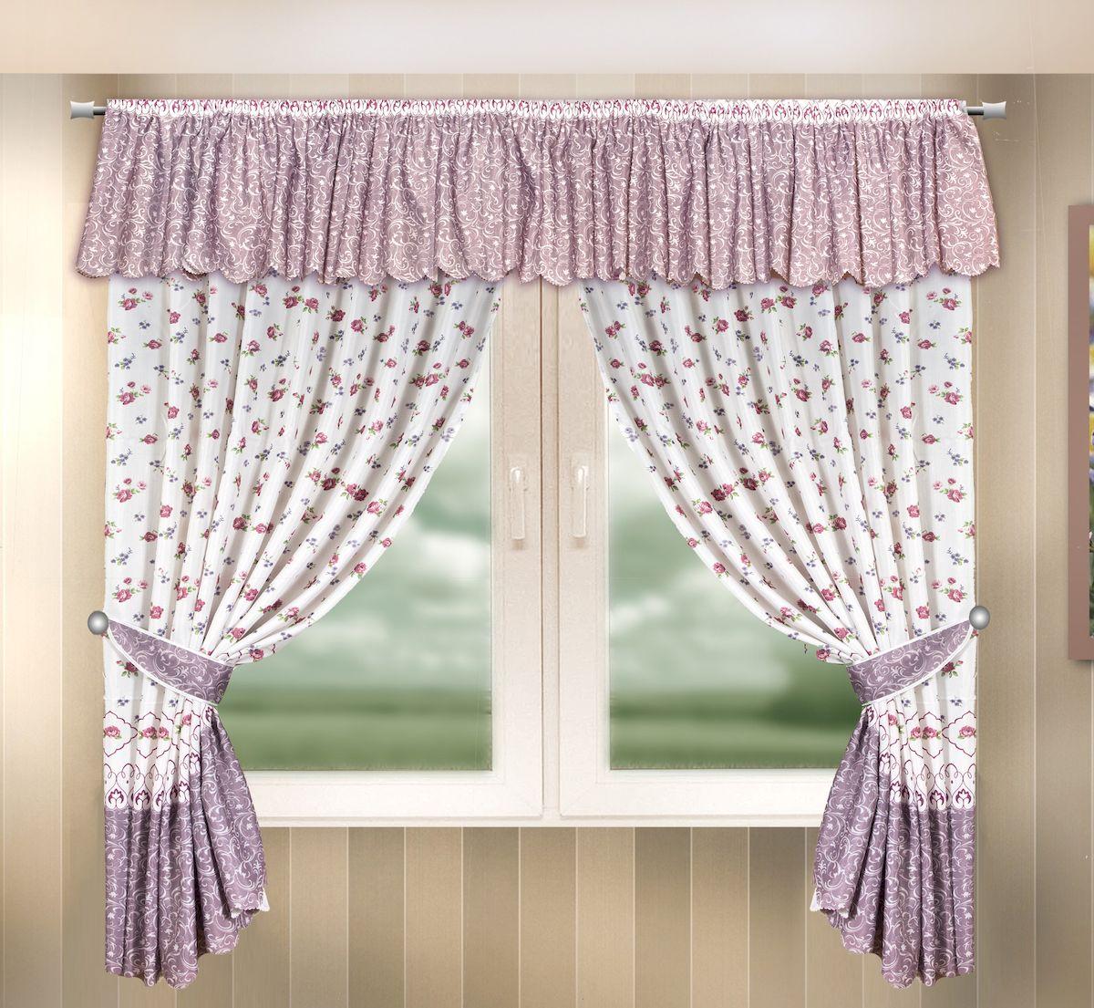 Комплект штор для кухни Zlata Korunka, на ленте, цвет: сиреневый, высота 170 см. 333337333337Комплект штор для кухни Zlata Korunka, выполненный из полиэстера, великолепно украсит любое окно. Комплект состоит из ламбрекена, 2 штор и 2 подхватов. Цветочный рисунок и приятная цветовая гамма привлекут к себе внимание и органично впишутся в интерьер помещения. Этот комплект будет долгое время радовать вас и вашу семью! Комплект крепится на карниз при помощи ленты, которая поможет красиво и равномерно задрапировать верх. В комплект входит: Ламбрекен: 1 шт. Размер (Ш х В): 290 х 35 см. Штора: 2 шт. Размер (Ш х В): 140 х 170 см. Подхват: 2 шт.