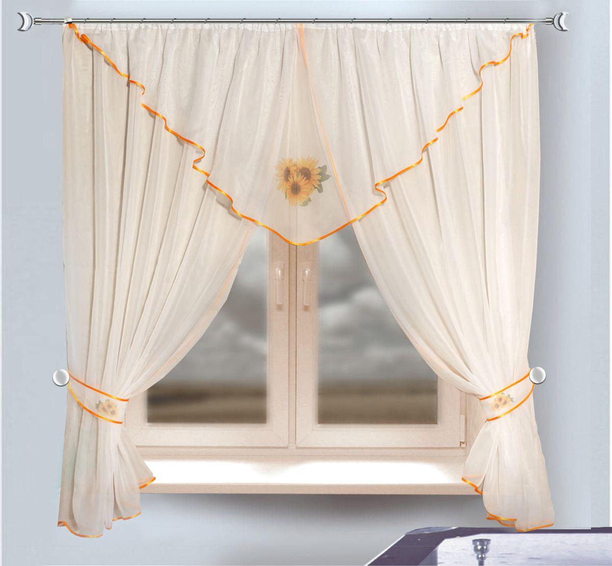 Комплект штор для кухни Zlata Korunka, на ленте, цвет: белый, высота 170 см. 333340333340Комплект штор для кухни Zlata Korunka, выполненный из полиэстера, великолепно украсит любое окно. Комплект состоит из ламбрекена, двух штор и двух подхватов. Принт с подсолнухам и приятная цветовая гамма привлекут к себе внимание и органично впишутся в интерьер помещения. Этот комплект будет долгое время радовать вас и вашу семью! Комплект крепится на карниз при помощи ленты, которая поможет красиво и равномерно задрапировать верх. В комплект входит: Ламбрекен: 1 шт. Размер (Ш х В): 280 х 75 см. Штора: 2 шт. Размер (Ш х В): 140 х 170 см. Подхват: 2 шт.