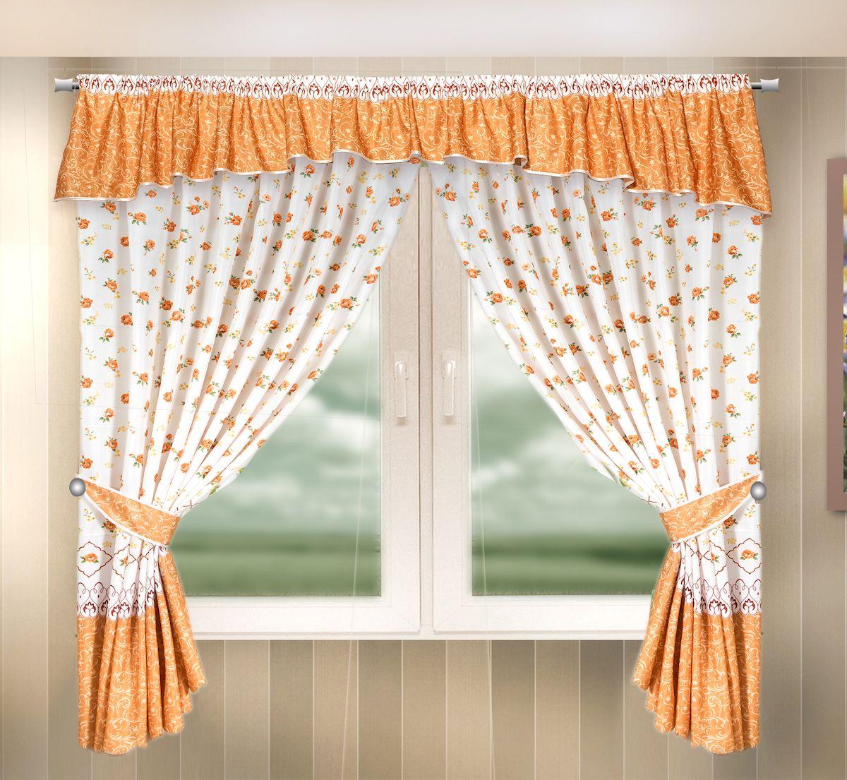 Комплект штор для кухни Zlata Korunka, на кулиске, цвет: оранжевый, высота 170 см. 333341333341Комплект штор для кухни Zlata Korunka, выполненный из полиэстера, великолепно украсит любое окно. Комплект состоит из ламбрекена, 2 штор и 2 подхватов. Цветочный рисунок и приятная цветовая гамма привлекут к себе внимание и органично впишутся в интерьер помещения. Этот комплект будет долгое время радовать вас и вашу семью! Комплект крепится на карниз при помощи кулиски. В комплект входит: Ламбрекен: 1 шт. Размер (Ш х В): 290 х 35 см. Штора: 2 шт. Размер (Ш х В): 140 х 170 см. Подхват: 2 шт.