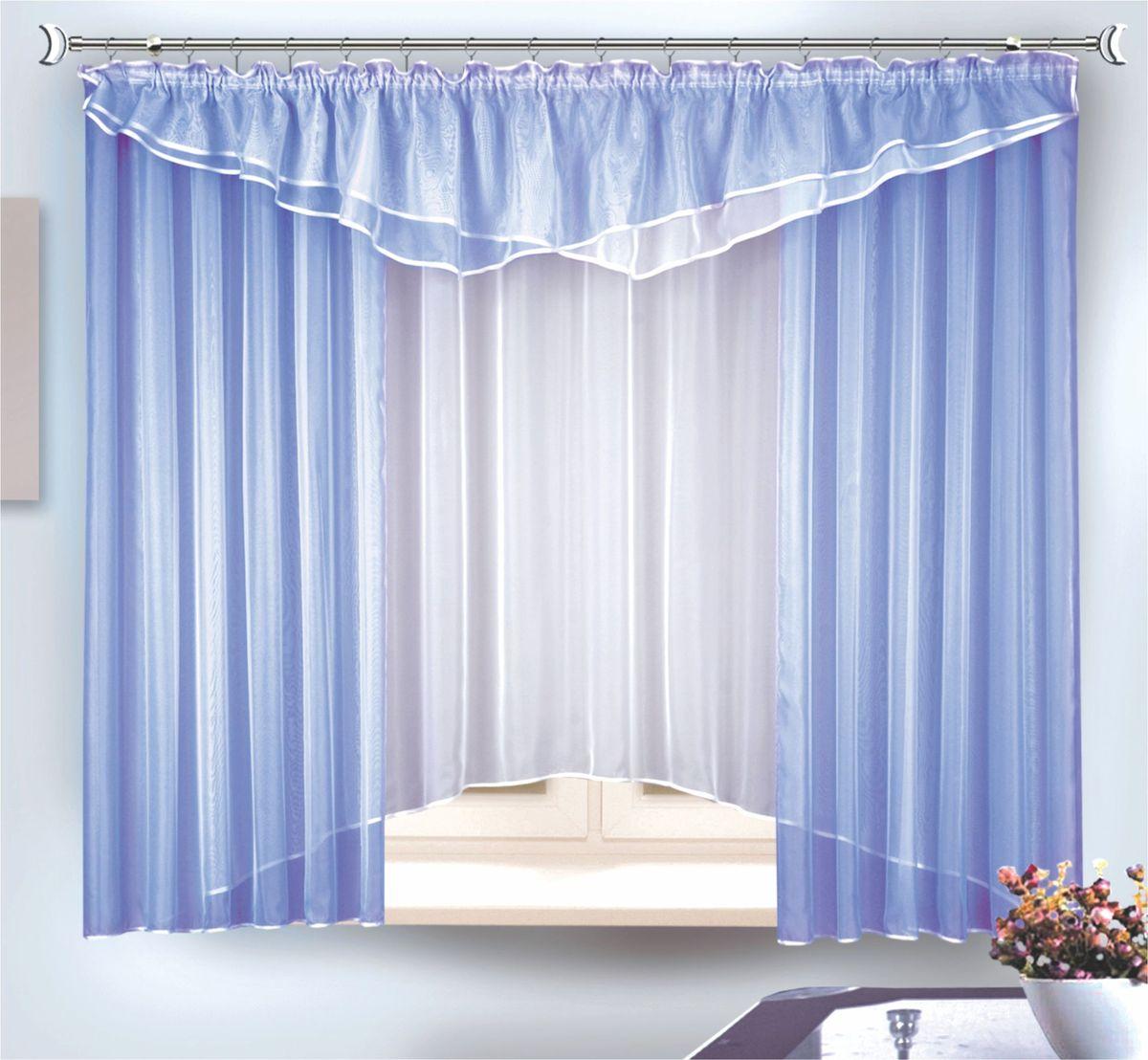 Комплект штор для кухни Zlata Korunka, на ленте, цвет: голубой, высота 180 см. 3333833338Комплект штор на шторной ленте Размер: тюль ширина 290 x высота 180, шторы - ширина 290 x высота 170 + ламбрекен - ширина 290 x высота 50