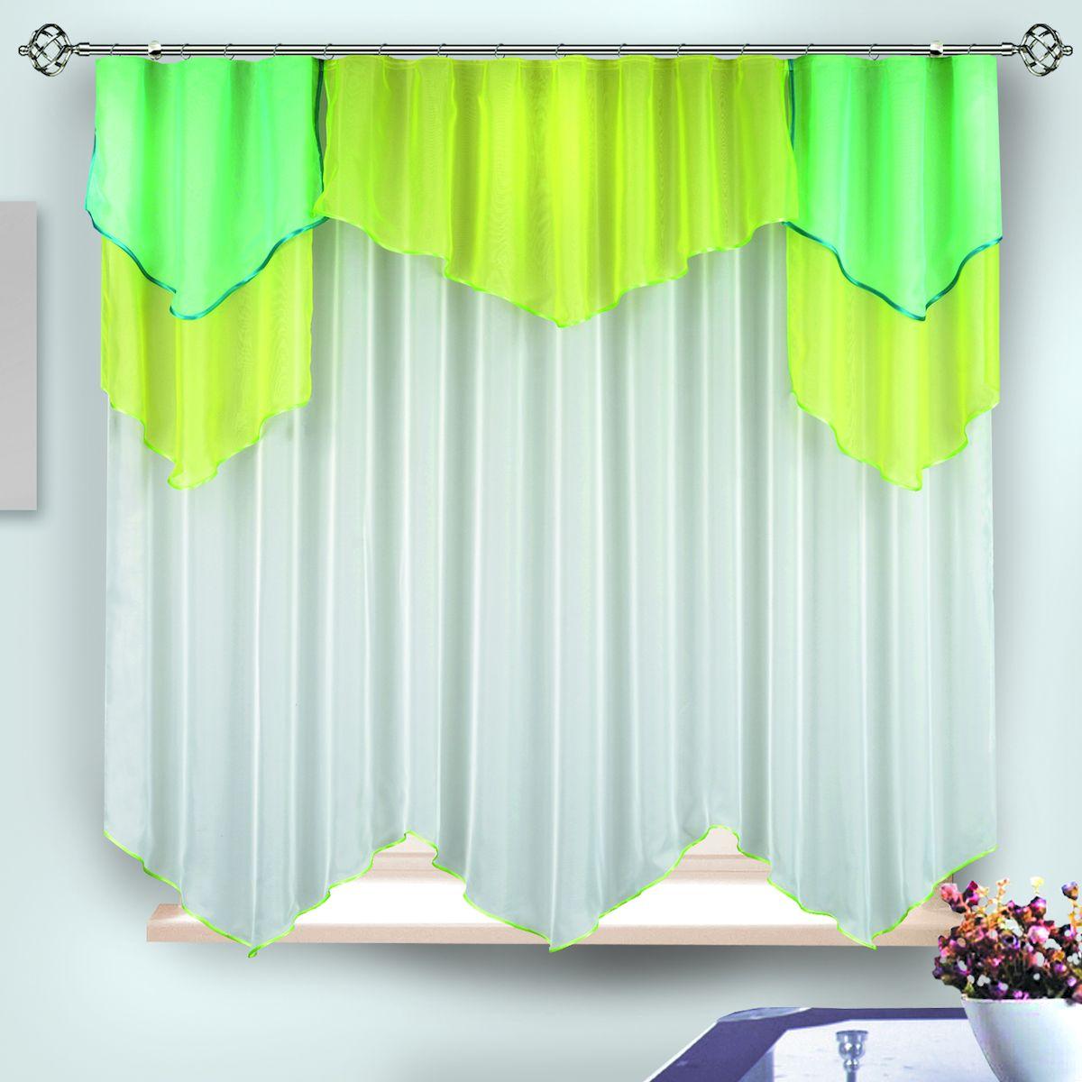 """Комплект штор для кухни """"Zlata Korunka"""", на ленте, цвет: желтый, зеленый, белый, высота 170 см. 33339"""