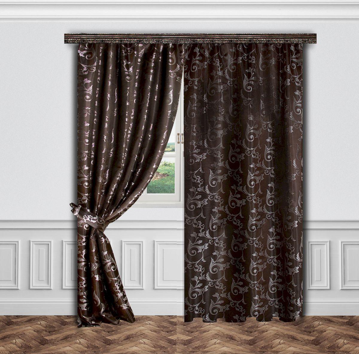 Комплект штор Zlata Korunka, на ленте, цвет: коричневый, высота 260 см. 5563855638Роскошный комплект штор Zlata Korunka, выполненный из полиэстера, великолепно украсит любое окно. Комплект состоит двух штор и двух подхватов. Изящный узор и приятная цветовая гамма привлекут к себе внимание и органично впишутся в интерьер помещения. Этот комплект будет долгое время радовать вас и вашу семью! Комплект крепится на карниз при помощи ленты, которая поможет красиво и равномерно задрапировать верх. В комплект входит: Штора: 2 шт. Размер (Ш х В): 145 см х 260 см. Подхват: 2 шт.