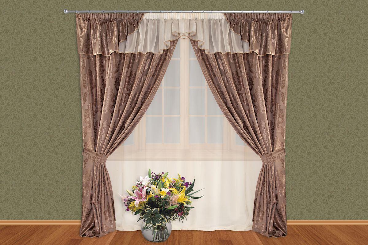 Комплект штор Zlata Korunka, на ленте, цвет: коричневый, высота 250 см. 5151Роскошный комплект штор Zlata Korunka, выполненный из полиэстера, великолепно украсит любое окно. Комплект состоит из тюля, ламбрекена, двух штор и двух подхватов. Изящный узор и приятная цветовая гамма привлекут к себе внимание и органично впишутся в интерьер помещения. Этот комплект будет долгое время радовать вас и вашу семью! Комплект крепится на карниз при помощи ленты, которая поможет красиво и равномерно задрапировать верх. В комплект входит: Тюль: 1 шт. Размер (Ш х В): 350 см х 250 см. Ламбрекен: 1 шт. Размер (Ш х В): 350 см х 50 см. Штора: 2 шт. Размер (Ш х В): 150 см х 250 см. Подхват: 2 шт.
