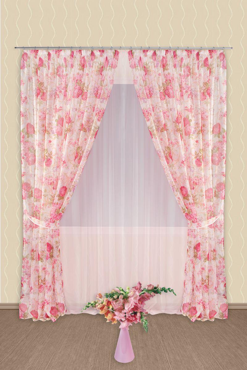 Комплект штор Zlata Korunka, на ленте, цвет: розовый, высота 250 см. 5454Роскошный комплект штор Zlata Korunka, выполненный из полиэстера, великолепно украсит любое окно. Комплект состоит из тюля, двух штор и двух подхватов. Нежный цветочный рисунок и приятная цветовая гамма привлекут к себе внимание и органично впишутся в интерьер помещения. Этот комплект будет долгое время радовать вас и вашу семью! Комплект крепится на карниз при помощи ленты, которая поможет красиво и равномерно задрапировать верх. В комплект входит: Тюль: 1 шт. Размер (Ш х В): 400 см х 250 см. Штора: 2 шт. Размер (Ш х В): 180 см х 250 см. Подхват: 2 шт.