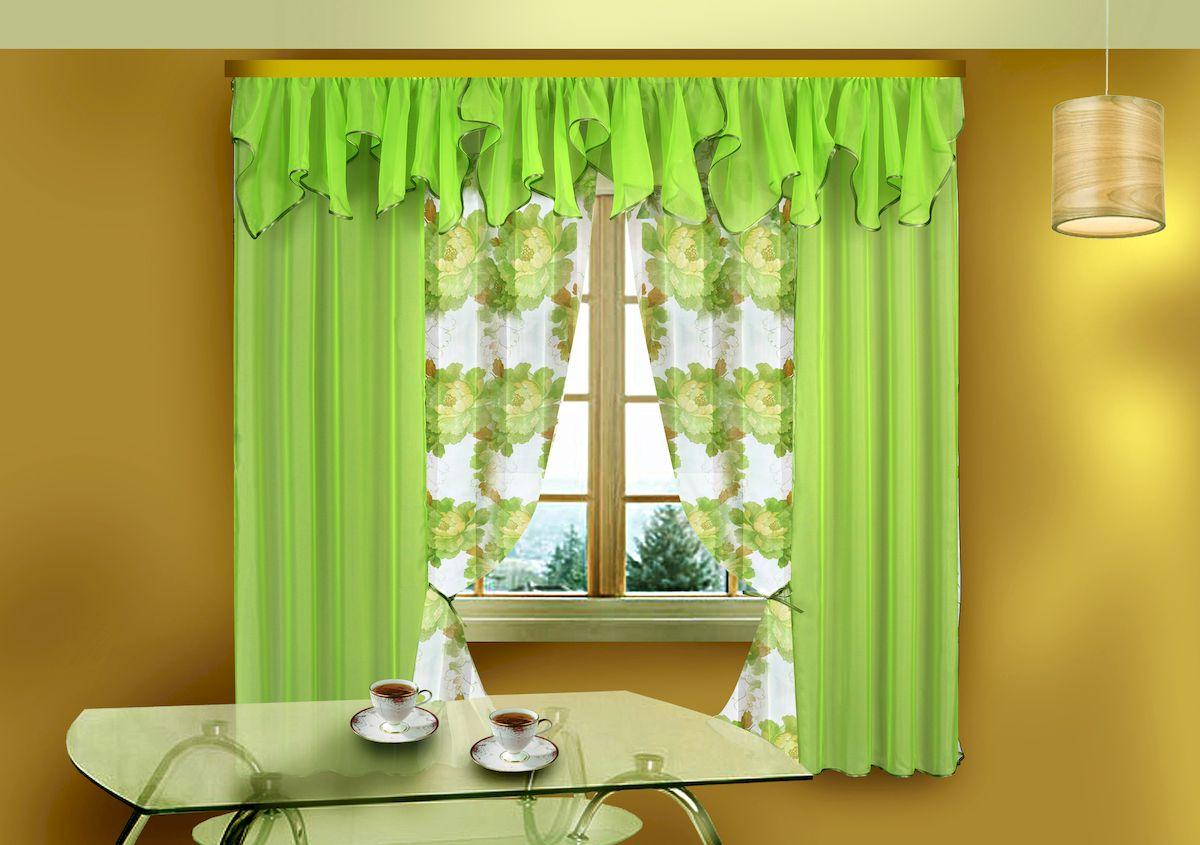 Комплект штор Zlata Korunka, на ленте, цвет: салатовый, высота 180 см. 5757Комплект штор Zlata Korunka, выполненный из полиэстера, великолепно украсит любое окно. Комплект состоит из ламбрекена, двух штор и двух подхватов. Цветочный рисунок и приятная цветовая гамма привлекут к себе внимание и органично впишутся в интерьер помещения. Этот комплект будет долгое время радовать вас и вашу семью! Комплект крепится на карниз при помощи ленты, которая поможет красиво и равномерно задрапировать верх. В комплект входит: Ламбрекен: 1 шт. Размер (Ш х В): 300 см х 50 см. Штора: 2 шт. Размер (Ш х В): 130 см х 180 см. Подхват: 2 шт.