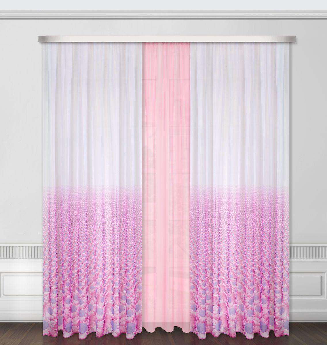 Комплект штор Zlata Korunka, на ленте, цвет: сиреневый, высота 260 см. 5566355663Роскошный комплект штор Zlata Korunka, выполненный из полиэстера, великолепно украсит любое окно. Комплект состоит из тюля и двух штор. Цветочный рисунок и приятная цветовая гамма привлекут к себе внимание и органично впишутся в интерьер помещения. Этот комплект будет долгое время радовать вас и вашу семью! Комплект крепится на карниз при помощи ленты, которая поможет красиво и равномерно задрапировать верх. В комплект входит: Тюль: 1 шт. Размер (Ш х В): 350 см х 260 см. Штора: 2 шт. Размер (Ш х В): 160 см х 260 см.