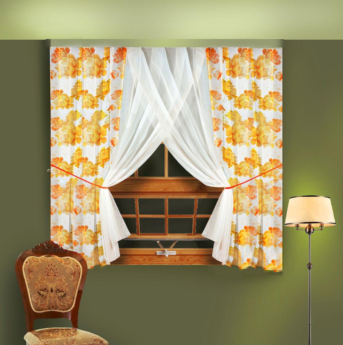 Комплект штор для кухни Zlata Korunka, на ленте, цвет: желтый, высота 180 см. 5566455664Комплект штор для кухни Zlata Korunka, выполненный из полиэстера, великолепно украсит любое окно. Комплект состоит из 2 штор и 2 подхватов. Крупный цветочный рисунок и приятная цветовая гамма привлекут к себе внимание и органично впишутся в интерьер помещения. Этот комплект будет долгое время радовать вас и вашу семью! Комплект крепится на карниз при помощи ленты, которая поможет красиво и равномерно задрапировать верх. В комплект входит: Штора: 2 шт. Размер (Ш х В): 180 х 180 см. Подхват: 2 шт.