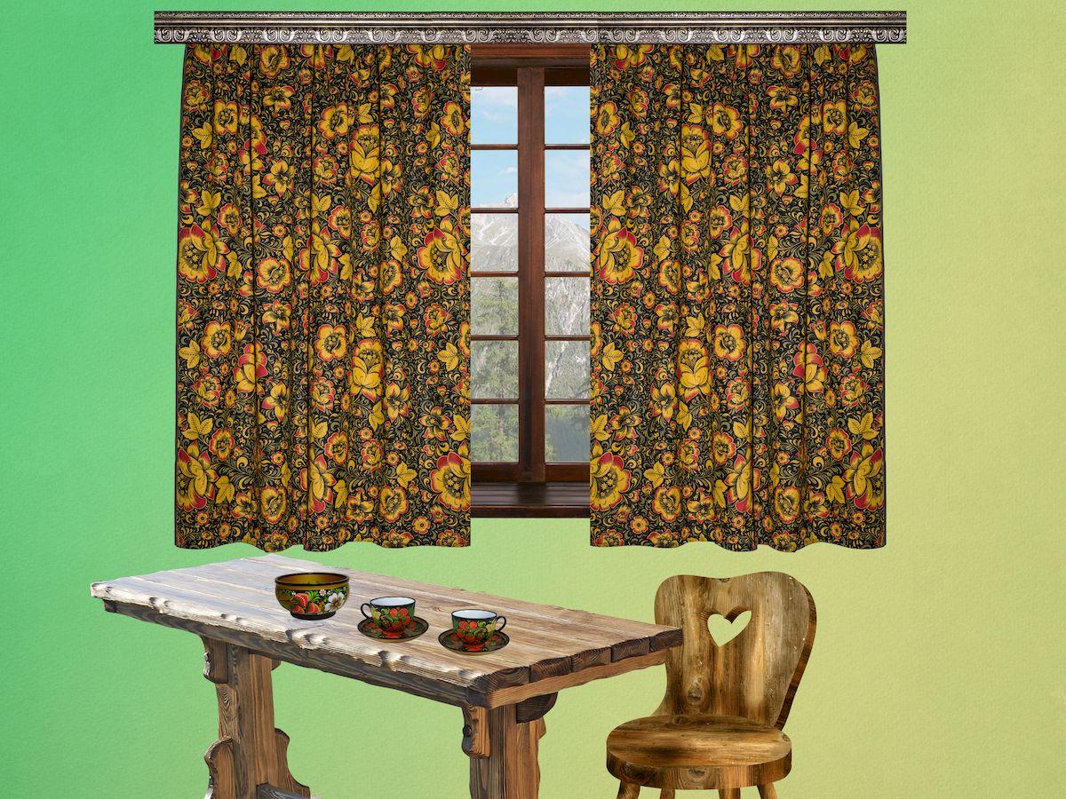 Комплект штор для кухни Zlata Korunka Хохлома, на ленте, высота 150 см. 5566855668Комплект штор для кухни Zlata Korunka Хохлома, выполненный из полиэстера, великолепно украсит любое окно. Комплект состоит из 2 штор и 2 подхватов. Рисунок под роспись хохлома и приятная цветовая гамма привлекут к себе внимание и органично впишутся в интерьер помещения. Этот комплект будет долгое время радовать вас и вашу семью! Комплект крепится на карниз при помощи ленты, которая поможет красиво и равномерно задрапировать верх. В комплект входит: Штора: 2 шт. Размер (Ш х В): 150 х 150 см. Подхват: 2 шт.