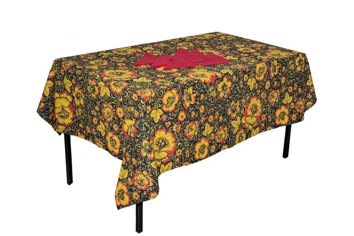 Комплект столовый Zlata Korunka Хохлома, 7 предметов. 5566955669Комплект столового белья Zlata Korunka Хохлома состоит из прямоугольной скатерти и шести салфеток. Комплект выполнен из высококачественного хлопка и украшен ярким рисунком. Он, несомненно, придаст интерьеру уют и внесет что-то новое. Использование такого комплекта сделает застолье более торжественным, поднимет настроение гостей и приятно удивит их вашим изысканным вкусом. Размер скатерти: 140 х 180 см. Размер салфетки: 40 х 40 см.