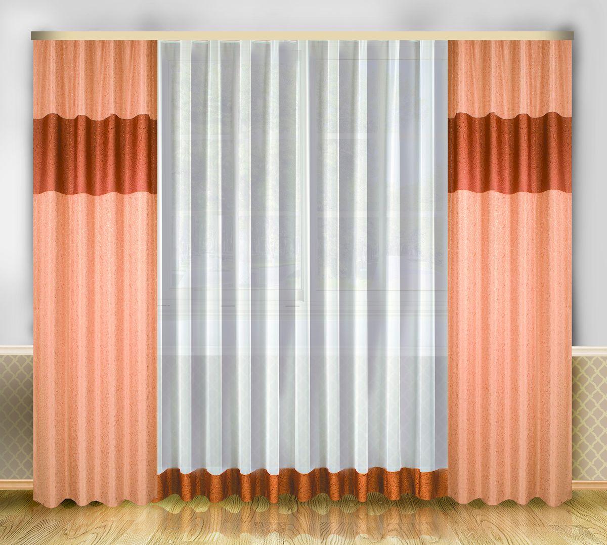 Комплект штор Zlata Korunka, на ленте, цвет: персиковый, высота 250 см. 6661966619Роскошный комплект штор Zlata Korunka, выполненный из полиэстера, великолепно украсит любое окно. Комплект состоит из тюля и двух штор. Изящный узор и приятная цветовая гамма привлекут к себе внимание и органично впишутся в интерьер помещения. Этот комплект будет долгое время радовать вас и вашу семью! Комплект крепится на карниз при помощи ленты, которая поможет красиво и равномерно задрапировать верх. В комплект входит: Тюль: 1 шт. Размер (Ш х В): 290 см х 250 см. Штора: 2 шт. Размер (Ш х В): 138 см х 250 см.