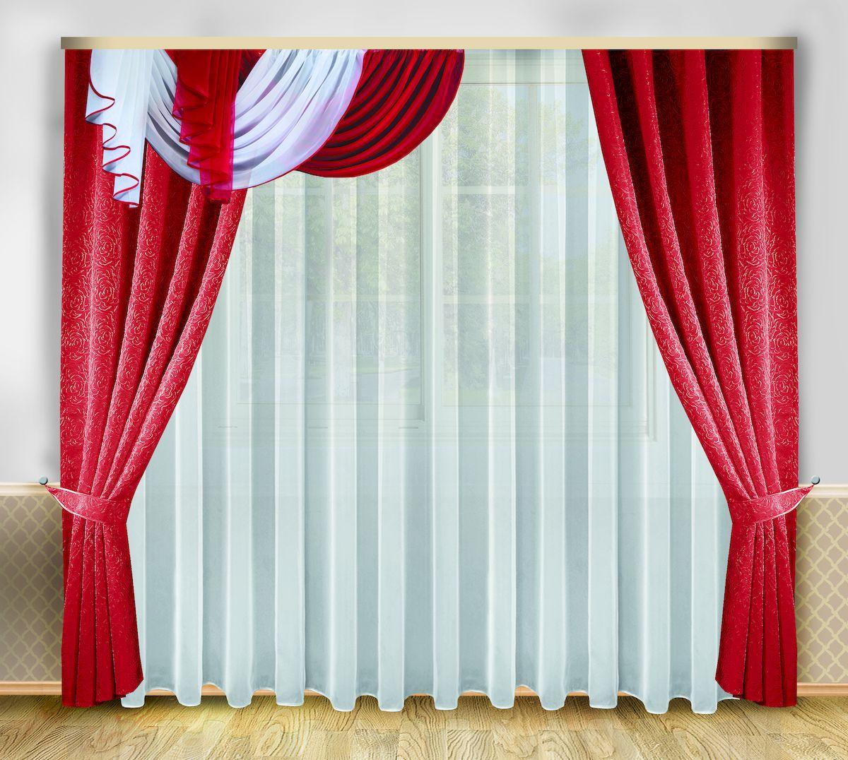 Комплект штор Zlata Korunka, на ленте, цвет: бордовый, белый, высота 250 см. 6662666626Роскошный комплект штор Zlata Korunka, выполненный из полиэстера, великолепно украсит любое окно. Комплект состоит из тюля, ламбрекена, двух штор и двух подхватов. Изящный узор и приятная цветовая гамма привлекут к себе внимание и органично впишутся в интерьер помещения. Этот комплект будет долгое время радовать вас и вашу семью! Комплект крепится на карниз при помощи ленты, которая поможет красиво и равномерно задрапировать верх. В комплект входит: Тюль: 1 шт. Размер (Ш х В): 400 см х 250 см. Ламбрекен: 1 шт. Размер (Ш х В): 200 см х 40 см. Штора: 2 шт. Размер (Ш х В): 138 см х 250 см. Подхват: 2 шт.