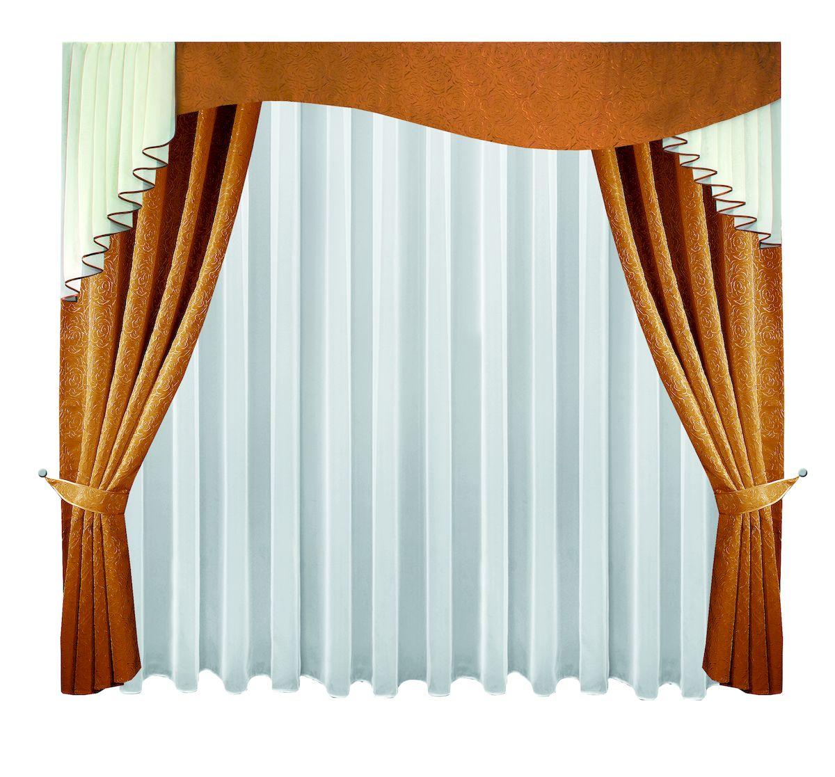 Комплект штор Zlata Korunka, на ленте, цвет: шоколадный, высота 250 см. 6662766627Комплект штор Zlata Korunka, выполненный из полиэстера, великолепно украсит любое окно. Комплект состоит из тюля, ламбрекена, двух штор и двух подхватов. Изящный узор и приятная цветовая гамма привлекут к себе внимание и органично впишутся в интерьер помещения. Этот комплект будет долгое время радовать вас и вашу семью! Комплект крепится на карниз при помощи ленты, которая поможет красиво и равномерно задрапировать верх. В комплект входит: Тюль: 1 шт. Размер (Ш х В): 400 см х 250 см. Ламбрекен: 1 шт. Размер (Ш х В): 300 см х 100 см. Штора: 2 шт. Размер (Ш х В): 138 см х 250 см. Подхват: 2 шт.