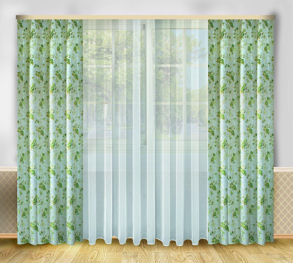 Комплект штор Zlata Korunka, на ленте, цвет: серо-зеленый, высота 250 см. 6665866658Роскошный комплект штор Zlata Korunka, выполненный из полиэстера, великолепно украсит любое окно. Комплект состоит из тюля и двух штор. Цветочный рисунок и приятная цветовая гамма привлекут к себе внимание и органично впишутся в интерьер помещения. Этот комплект будет долгое время радовать вас и вашу семью! Комплект крепится на карниз при помощи ленты, которая поможет красиво и равномерно задрапировать верх. В комплект входит: Тюль: 1 шт. Размер (Ш х В): 290 см х 250 см. Штора: 2 шт. Размер (Ш х В): 138 см х 250 см.