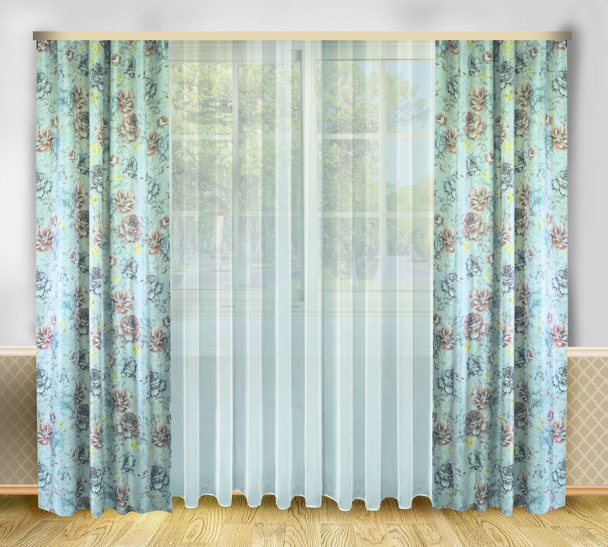 Комплект штор Zlata Korunka, на ленте, цвет: серо-голубой, высота 250 см. 6666166661Роскошный комплект штор Zlata Korunka, выполненный из полиэстера, великолепно украсит любое окно. Комплект состоит из тюля и двух штор. Цветочный рисунок и приятная цветовая гамма привлекут к себе внимание и органично впишутся в интерьер помещения. Этот комплект будет долгое время радовать вас и вашу семью! Комплект крепится на карниз при помощи ленты, которая поможет красиво и равномерно задрапировать верх. В комплект входит: Тюль: 1 шт. Размер (Ш х В): 290 см х 250 см. Штора: 2 шт. Размер (Ш х В): 138 см х 250 см.