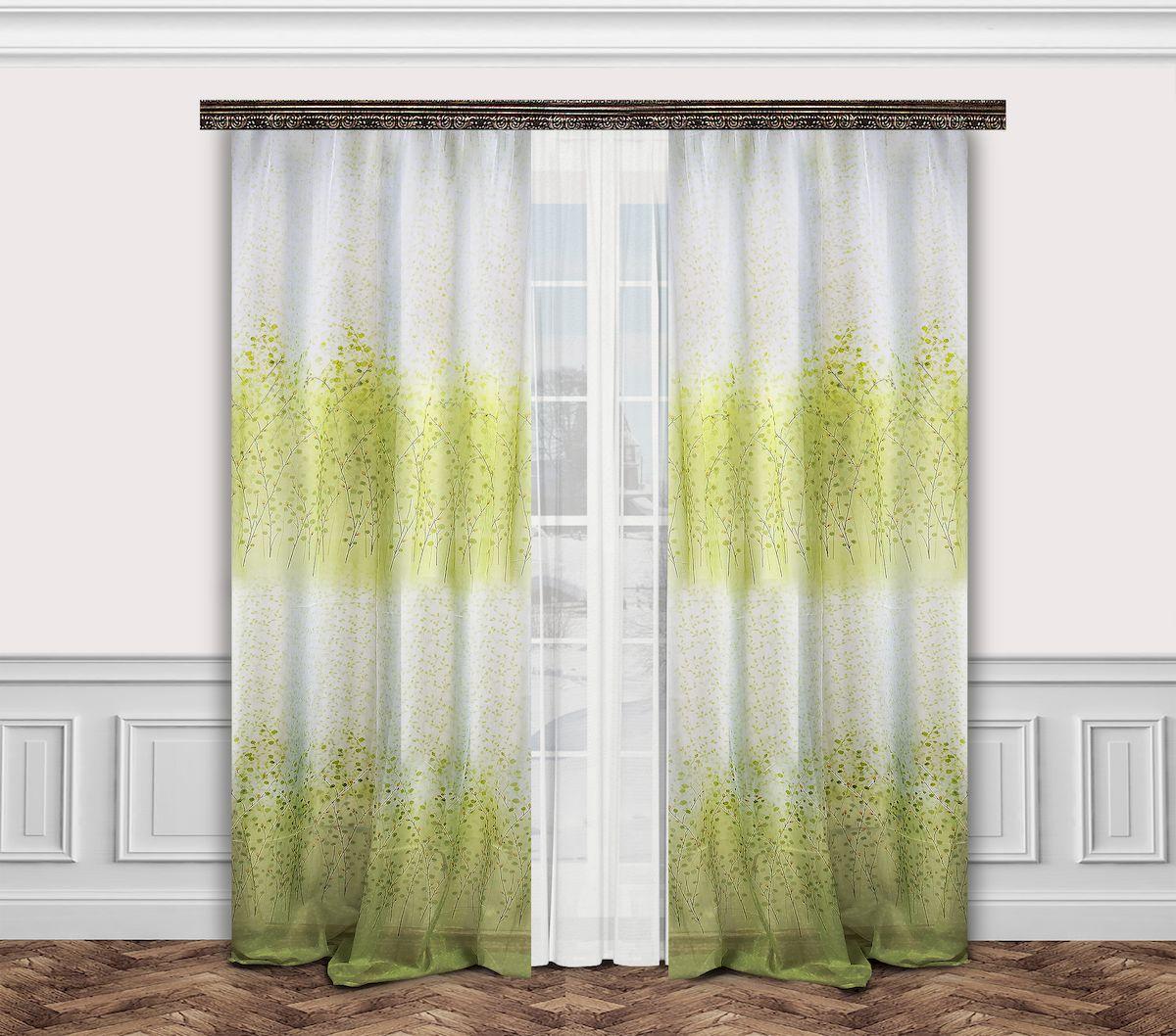 Комплект штор Zlata Korunka, на ленте, цвет: белый, салатовый, высота 260 см. 777003777003Комплект штор Zlata Korunka, выполненный из полиэстера, великолепно украсит любое окно. Комплект состоит из тюля, двух штор и двух подхватов. Оригинальный рисунок и приятная цветовая гамма привлекут к себе внимание и органично впишутся в интерьер помещения. Этот комплект будет долгое время радовать вас и вашу семью! Комплект крепится на карниз при помощи ленты, которая поможет красиво и равномерно задрапировать верх. В комплект входит: Тюль: 1 шт. Размер (Ш х В): 350 см х 260 см. Штора: 2 шт. Размер (Ш х В): 160 см х 260 см. Подхват: 2 шт.