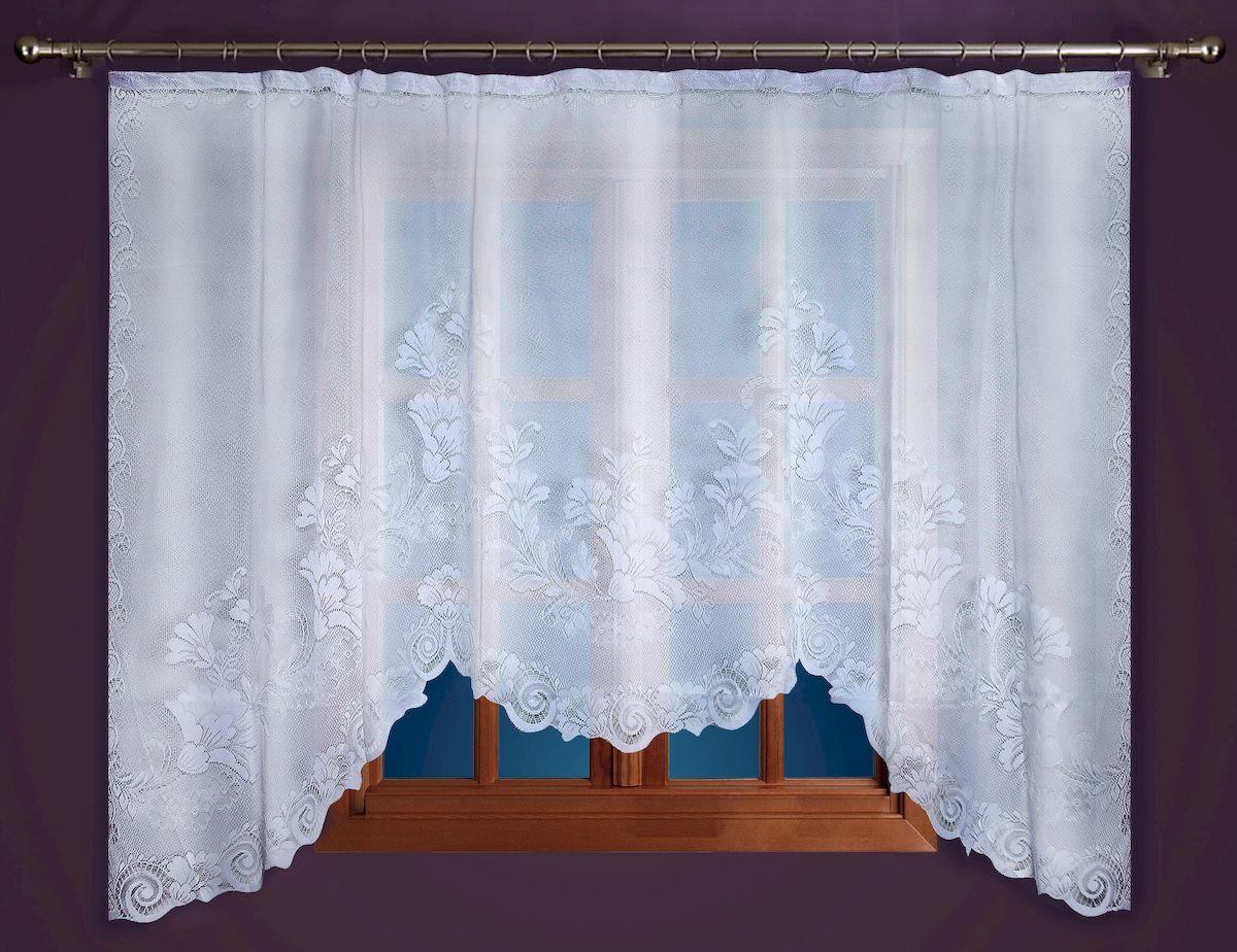 Гардина Zlata Korunka, на зажимах, цвет: белый, высота 250 см. 8886488864Гардина-арка Zlata Korunka, изготовленная из высококачественного полиэстера, станет великолепным украшением любого окна. Изящный цветочный узор и тюле-кружевная текстура полотна привлекут к себе внимание и органично впишутся в интерьер комнаты. Оригинальное оформление гардины внесет разнообразие и подарит заряд положительного настроения. Крепится на зажимах для штор.