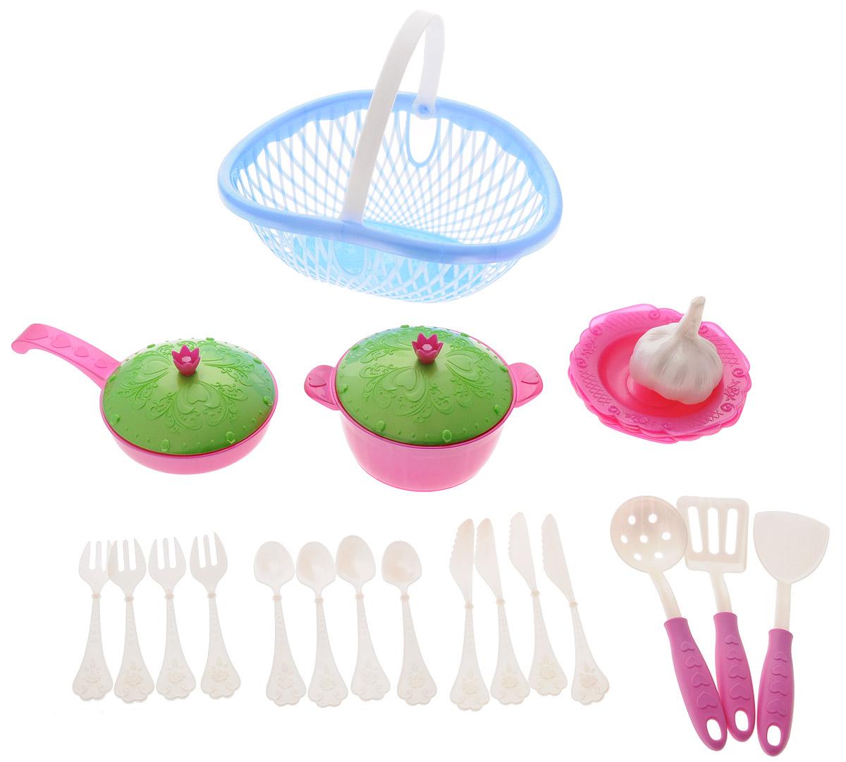 Нордпласт Игрушечный набор посуды Кухонный сервиз Волшебная хозяюшка цвет фуксия голубой зеленыйН-626_сиреневый, голубойИгрушечный набор посуды Нордпласт Кухонный сервиз. Волшебная хозяюшка - это кухонные принадлежности, которые дополнят и разнообразят игры ребенка. С таким набором все игрушки всегда будут сыты, а резные тарелочки и крышечки приведут в восторг любую маленькую хозяюшку. С набором посуды малышка сможет устроить вкусный обед для себя и своих игрушек. Все предметы изготовлены из безопасного для ребенка материала. Предметы поставляются в практичном лукошке с удобной ручкой для переноски. В наборе 23 предмета: лукошко, кастрюля с крышкой, сковорода с крышкой, 4 тарелки, 4 вилки, 4 ножа, 4 ложки, шумовка, муляж чеснока, 2 лопаточки. Игрушечный набор посуды Нордпласт Кухонный сервиз. Волшебная хозяюшка станет великолепным подарком для вашей малышки.