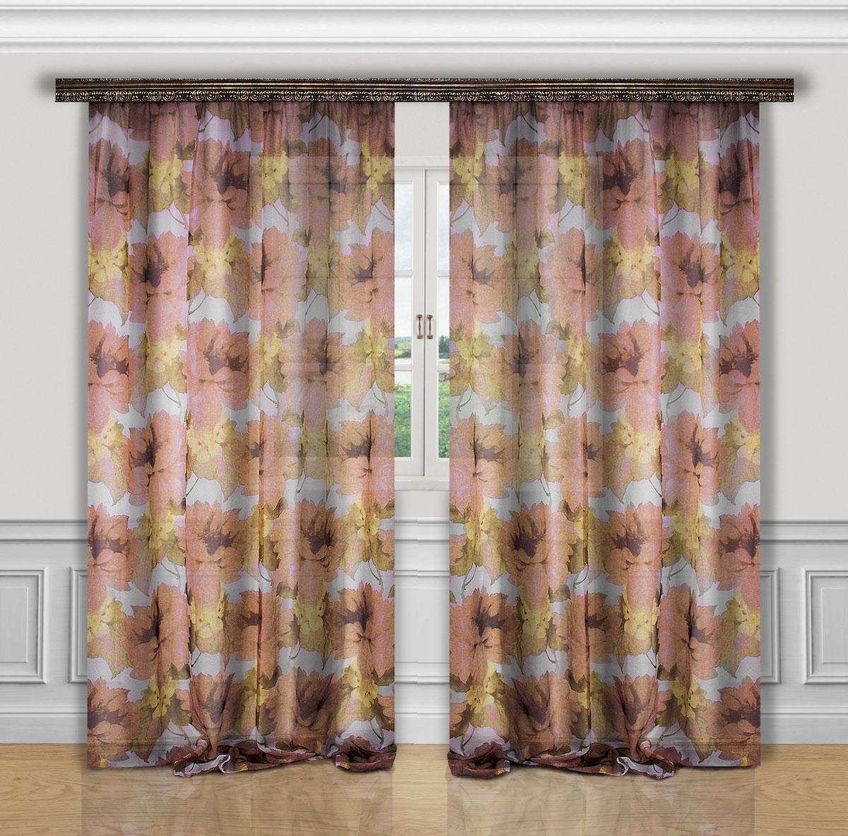 Комплект штор Zlata Korunka, на ленте, цвет: коричневый, бежевый, высота 270 см. 5559855598Роскошный комплект штор Zlata Korunka, выполненный из полиэстера, великолепно украсит любое окно. Комплект состоит из двух штор. Вуаль с печатным цветочным рисунком привлечет к себе внимание и органично впишется в интерьер помещения. Этот комплект будет долгое время радовать вас и вашу семью! Комплект крепится на карниз при помощи ленты, которая поможет красиво и равномерно задрапировать верх. В комплект входит: Штора: 2 шт. Размер (Ш х В): 200 см х 270 см.