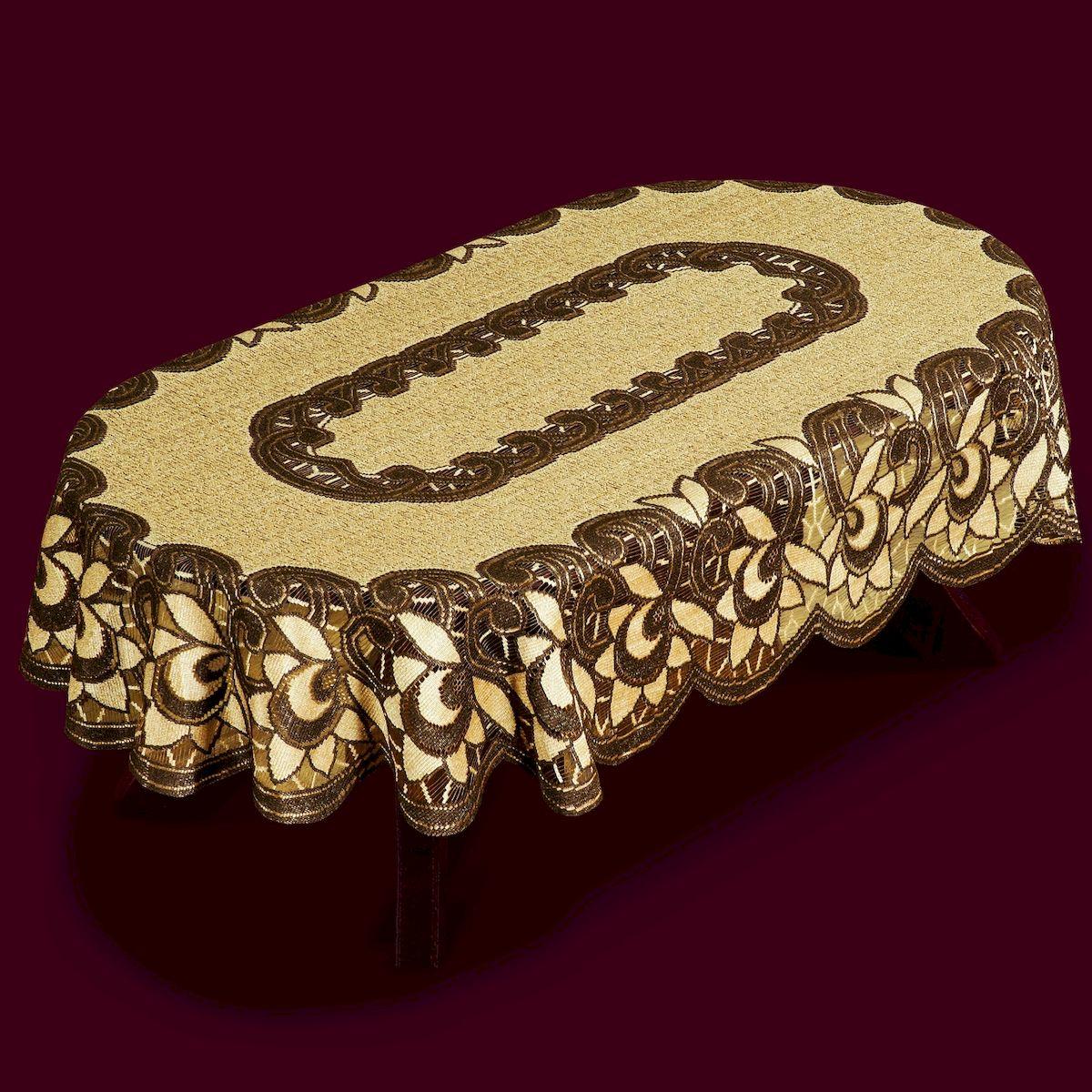 Скатерть Haft, овальная, цвет: коричневый, бежевый, 150 x 100 см. 3878138781/100 кофейно-коричн.Великолепная скатерть Haft, выполненная из полиэстера, органично впишется в интерьер любого помещения, а оригинальный дизайн удовлетворит даже самый изысканный вкус. Скатерть Haft создаст праздничное настроение и станет прекрасным дополнением интерьера гостиной, кухни или столовой.
