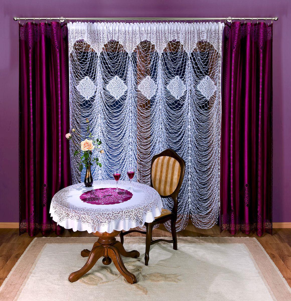Гардина Wisan, цвет: белый, высота 250 см. 280A280AГардина бордового цвета из ткани средней плотности с гипюровым элементом. Размер: ширина 150 х высота 250