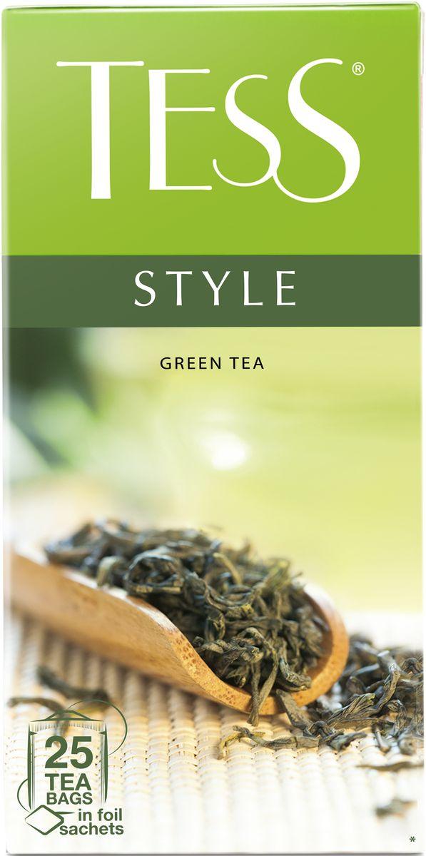 Tess Style зеленый чай в пакетиках, 25 шт1179-10Природный букет благородного зеленого чая из провинции Фудзянь раскрывается во всем великолепии: насыщенный, но легкий вкус, воздушный цветочный аромат, настой цвета светлого нефрита и долгое, с нотами сладости, послевкусие.