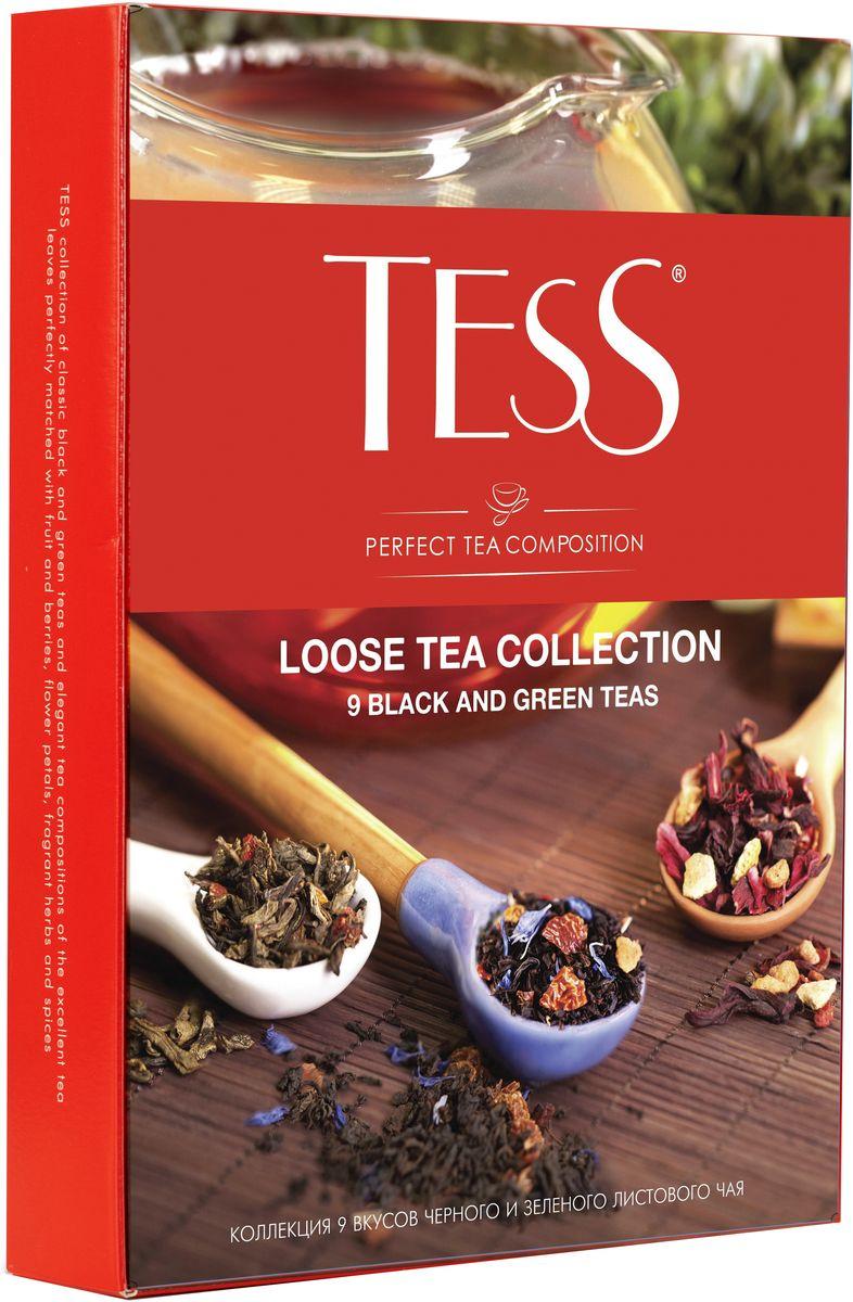Tess Коллекция ароматизированного листового чая 9 видов, 350 г1183-12В этой коллекции вы найдете превосходные сорта черных и зеленых чаев, выращенных на известных плантациях Цейлона, Индии и Китая, и изысканные композиции, в которых высококачественные чайные листья гармонично сочетаются с натуральными фруктами, ягодами, лепестками цветов и душистыми травами.