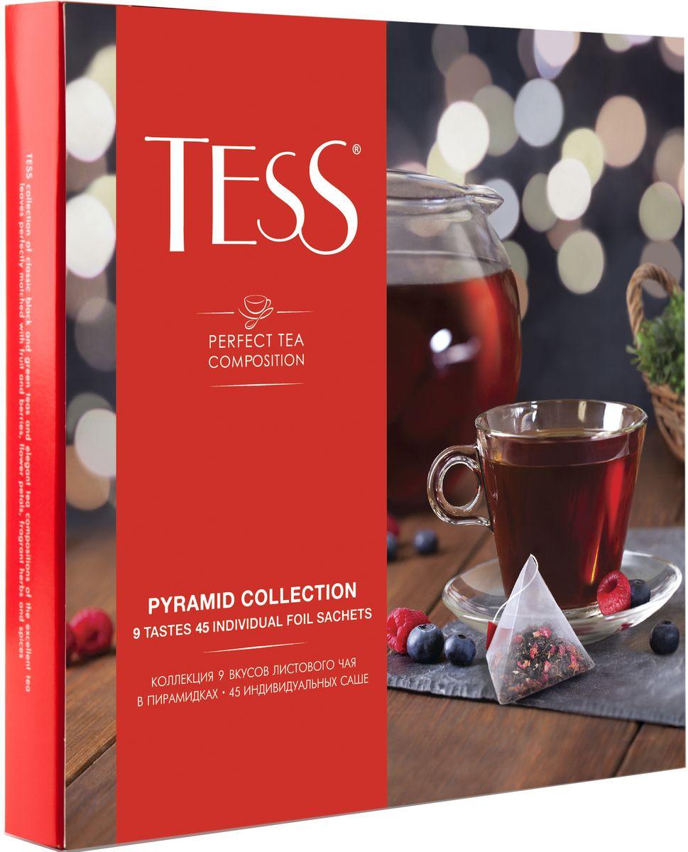 Tess Коллекция ароматизированного чая 9 видов в пирамидках, 45 шт1184-11Коллекция изысканных чайных композиций TESS на основе черного, зеленого и фруктово-травяного чая, в которых превосходные чайные листья гармонично сочетаются с кусочками фруктов и ягод, лепестками цветов и душистыми травами и специями