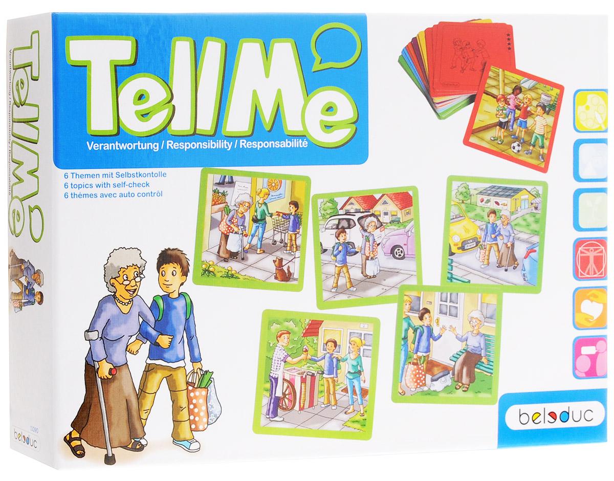 Beleduc Обучающая игра Ответственность11090Познавать, учиться и рассказывать - вот, что предлагают карточки, разбитые на шесть тем и изображающие различные ситуации. На каждую тему дано по пять карточек, которые необходимо расположить в правильном порядке. Обратная сторона каждой карточки снабжена подсказкой. В ходе игры ребенок может познакомиться с повседневными ситуациями в жизни. Кроме того, игра способствует развитию речи ребенка. Во время плавания или катания на велосипеде несчастный случай может произойти в любой момент! Быть ответственным за себя и других - это тематика, с которой дети сталкиваются ежедневно. Что необходимо для соблюдения утренней гигиены? Как можно помочь пожилой женщине, несущей тяжелую сумку с покупками? И как понять, когда ребенка дразнят или обижают? На карточках обучающей игры Beleduc Ответственность представлены следующие темы: ответственность, участие, готовность помочь, самостоятельность, забота, поддержка.