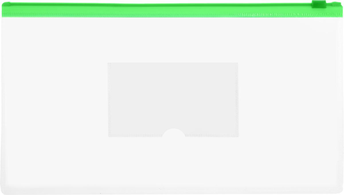 Бюрократ Папка-конверт на молнии с карманом под визитку цвет зеленый