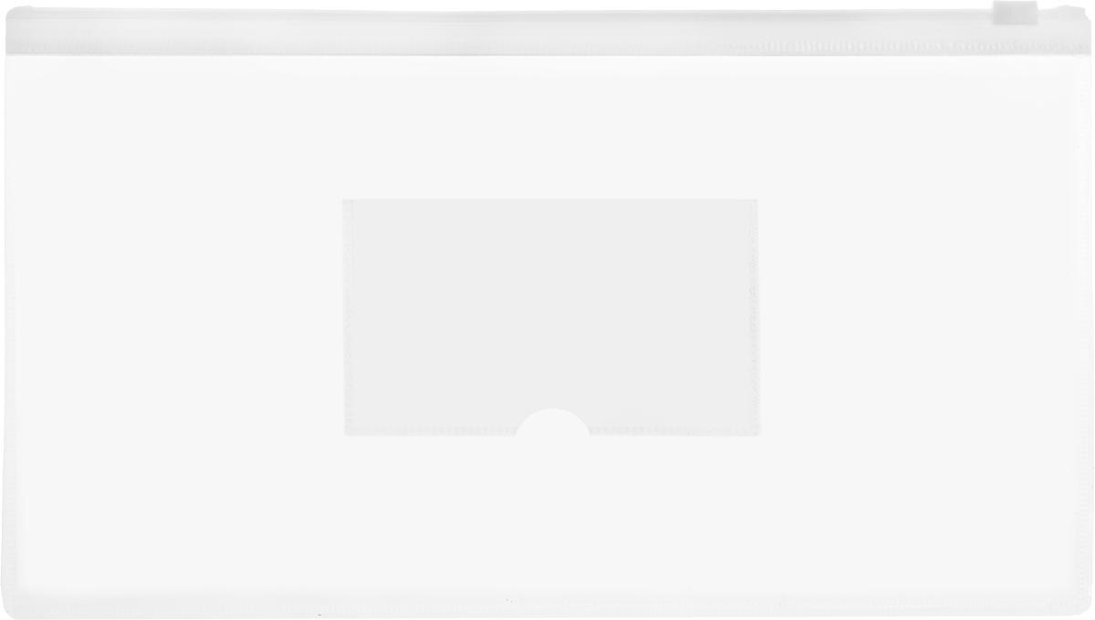 Бюрократ Папка-конверт на молнии с карманом под визитку цвет белый прозрачный
