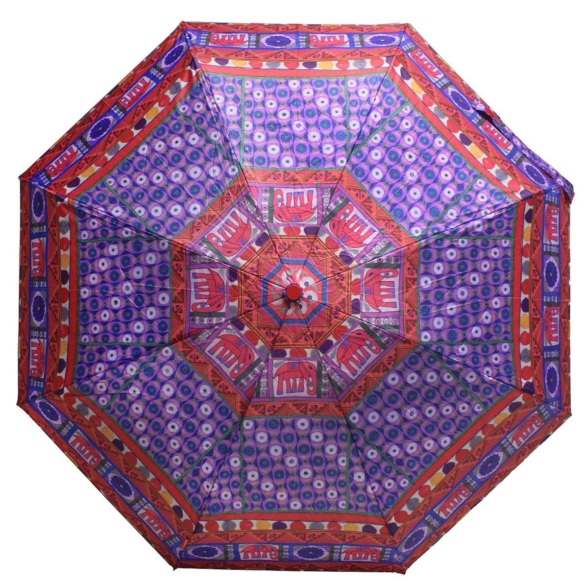 Зонт женский Bisetti, цвет: фиолетовый, бордовый. 35167-235167-2Стильный зонт автомат испанского производителя Bisetti даже в ненастную погоду позволит вам оставаться элегантной. В производстве зонтов Bisetti используются современные материалы, что делает зонты легкими, но в то же время крепкими. Каркас зонта включает 7 спиц. Стержень изготовлен из стали, купол выполнен из прочного полиэстера. Зонт является механическим: купол открывается и закрывается вручную до характерного щелчка.