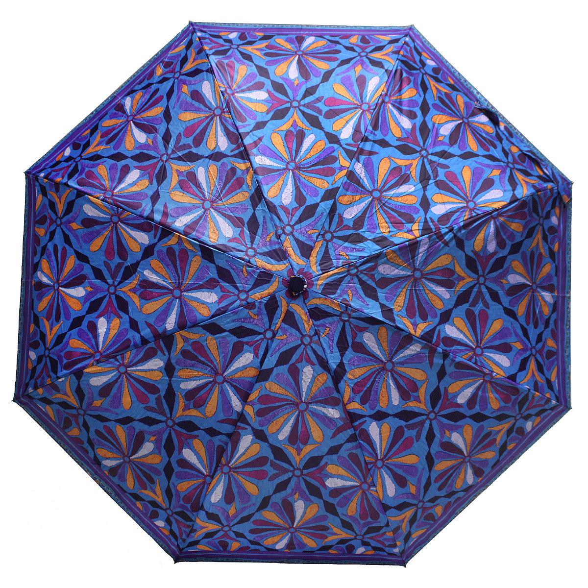 Зонт женский Bisetti, цвет: синий. 35167-335167-3Стильный зонт автомат испанского производителя Bisetti даже в ненастную погоду позволит вам оставаться элегантной. В производстве зонтов Bisetti используются современные материалы, что делает зонты легкими, но в то же время крепкими. Каркас зонта включает 7 спиц. Стержень изготовлен из стали, купол выполнен из прочного полиэстера. Зонт является механическим: купол открывается и закрывается вручную до характерного щелчка.