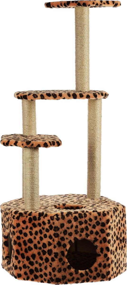 Домик-когтеточка Меридиан Высотка, 4-ярусный, цвет: черный, коричневый, 51 х 51 х 123 смД240ЛеДомик-когтеточка Меридиан Высотка выполнен из высококачественного ДВП и ДСП и обтянут искусственным мехом. Изделие предназначено для кошек. Комплекс имеет 4 яруса. Ваш домашний питомец будет с удовольствием точить когти о специальные столбики, изготовленные из джута. А отдохнуть он сможет либо на полках, либо в расположенном внизу домике. Домик-когтеточка Меридиан Высотка принесет пользу не только вашему питомцу, но и вам, так как он сохранит мебель от когтей и шерсти. Общий размер: 51 х 51 х 123 см. Размер домика: 51 х 51 х 32 см.