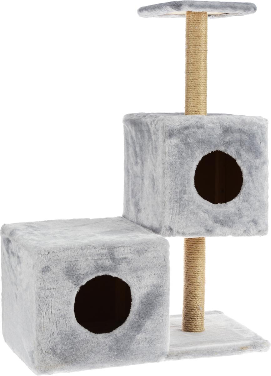 Домик-когтеточка Меридиан Разноуровневый, 3-ярусный, цвет: серый, бежевый, 66 х 36 х 94 смД133ССДомик-когтеточка Меридиан Разноуровневый выполнен из высококачественного ДВП и ДСП и обтянут искусственным мехом. Изделие предназначено для кошек. Комплекс имеет 3 яруса. Ваш домашний питомец будет с удовольствием точить когти о специальные столбики, изготовленные из джута. А отдохнуть он сможет либо на полке, либо в домиках. Домик-когтеточка Меридиан Разноуровневый принесет пользу не только вашему питомцу, но и вам, так как он сохранит мебель от когтей и шерсти. Общий размер: 66 х 36 х 94 см. Размер нижнего домика: 36 х 36 х 32 см. Размер верхнего домика: 32 х 32 х 32 см. Размер полки: 26 х 26 см.
