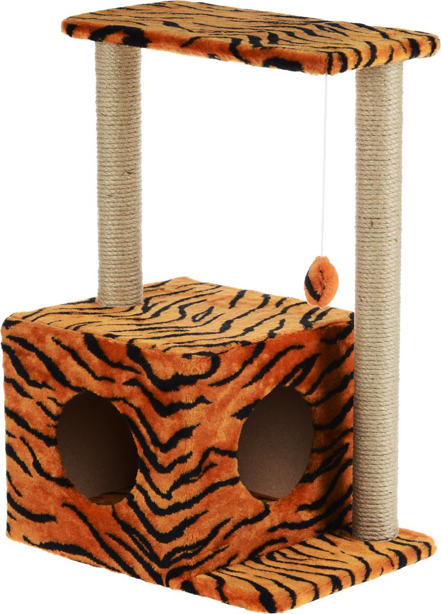 Домик-когтеточка Меридиан Квадратный, 2-ярусный, с игрушкой, цвет: оранжевый, черный, бежевый, 50 х 36 х 75 смД127ТДомик-когтеточка Меридиан Квадратный выполнен из высококачественного ДВП и ДСП и обтянут искусственным мехом. Изделие предназначено для кошек. Комплекс имеет 2 яруса. Ваш домашний питомец будет с удовольствием точить когти о специальные столбики, изготовленные из джута. А отдохнуть он сможет либо на полках, либо в уютном домике. Изделие снабжено подвесной игрушкой. Домик-когтеточка Меридиан Квадратный принесет пользу не только вашему питомцу, но и вам, так как он сохранит мебель от когтей и шерсти. Общий размер: 50 х 36 х 75 см. Размер домика: 37 х 37 х 34 см. Размер полки: 50 х 24 см.