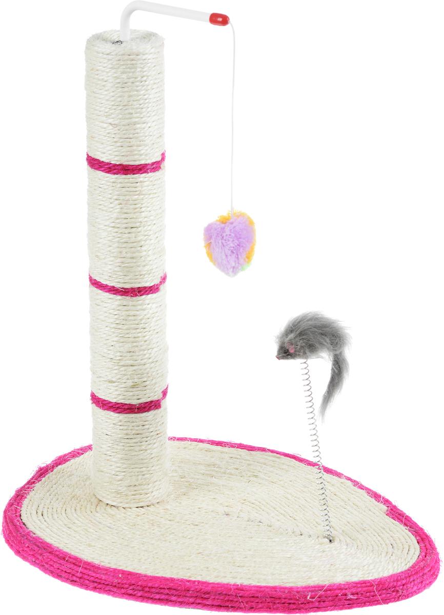 Когтеточка Triol, на овальной подставке, с мышкой, 40 х 30 х 48,5 смКк-11540/NT4306Когтеточка для кошек Triol в виде столбика позволит вашему питомцу насладиться любимым занятием вытянувшись во весь рост. Когтеточка, выполненная из сизаля, может быть размещена в любом месте! Ваша кошка может точить свои коготки о столбик и об основание. На вершине столба закреплен плюшевый мячик на веревке, а на основании расположена мышка на пружине для игр и дополнительного привлечения кошки к когтеточке. Размер основания: 40 х 30 см. Высота когтеточки: 48,5 см.
